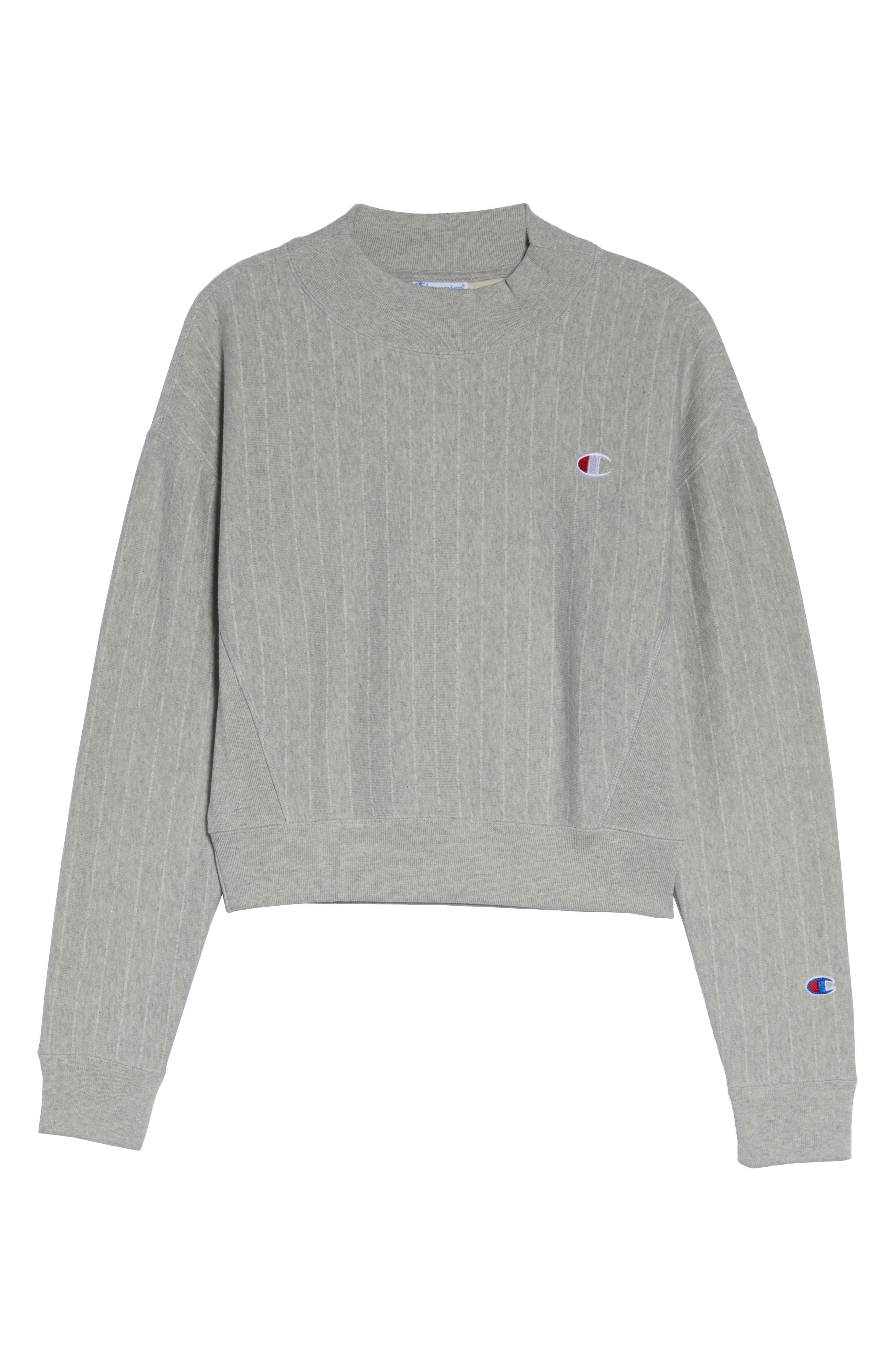 CHAMPION, Mock Neck Reverse Panel Crop Sweatshirt, Alternate thumbnail 5, color, PINSTRIPE OXFORD GREY