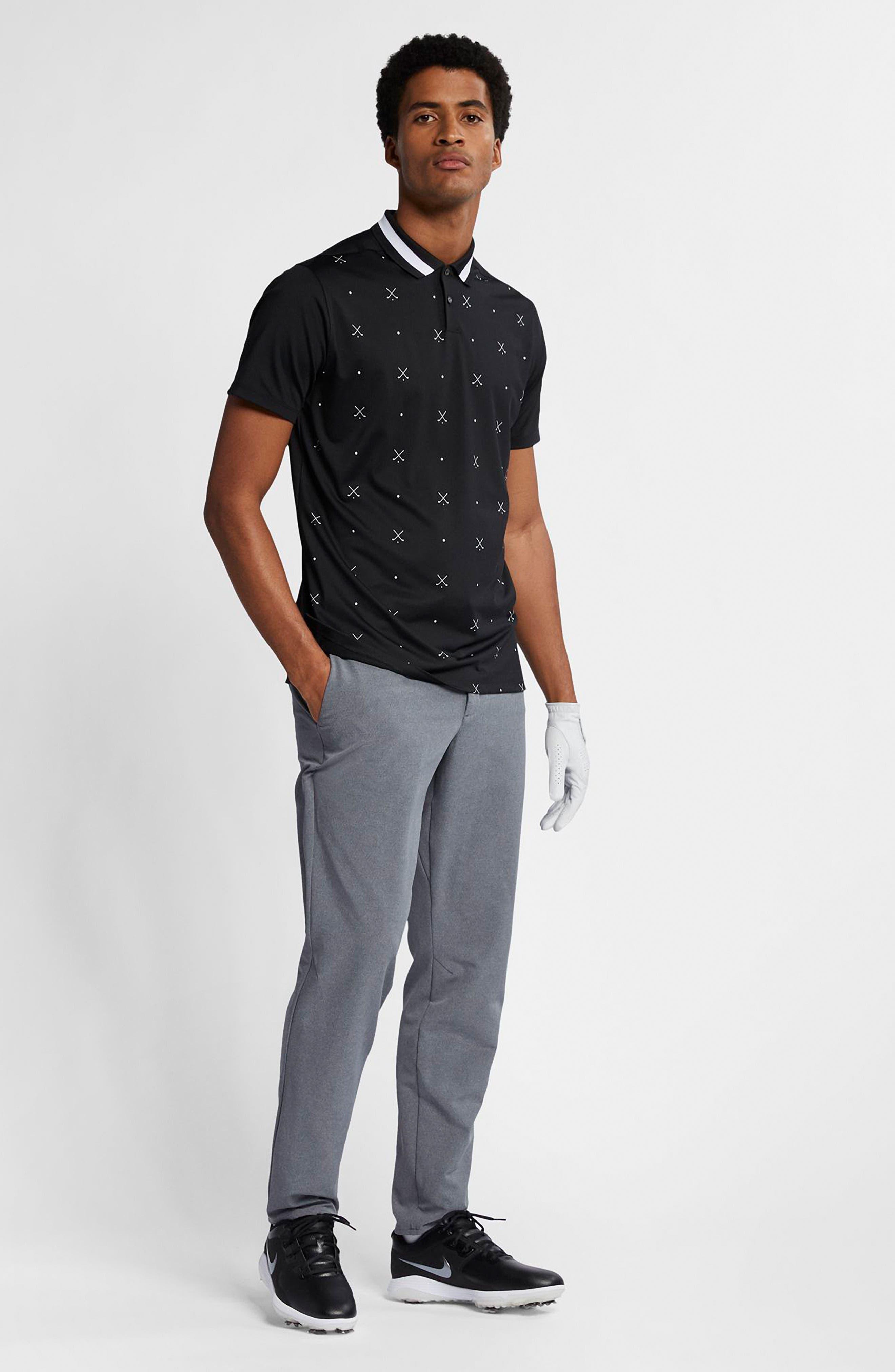 NIKE, Vapor Dri-FIT Golf Polo, Alternate thumbnail 5, color, BLACK/ WHITE/ BLACK