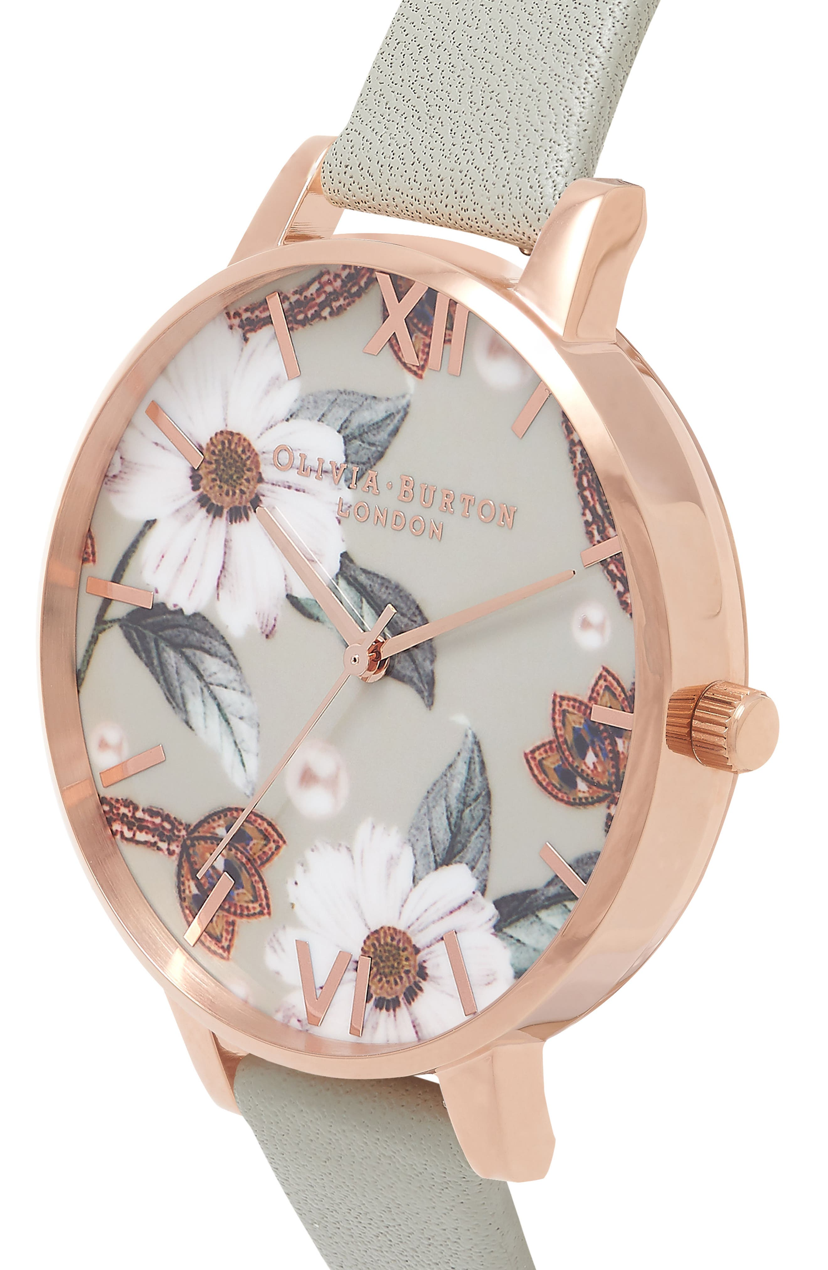 OLIVIA BURTON, Bejewelled Leather Strap Watch, 38mm, Alternate thumbnail 6, color, GREY/ FLORAL/ ROSE GOLD
