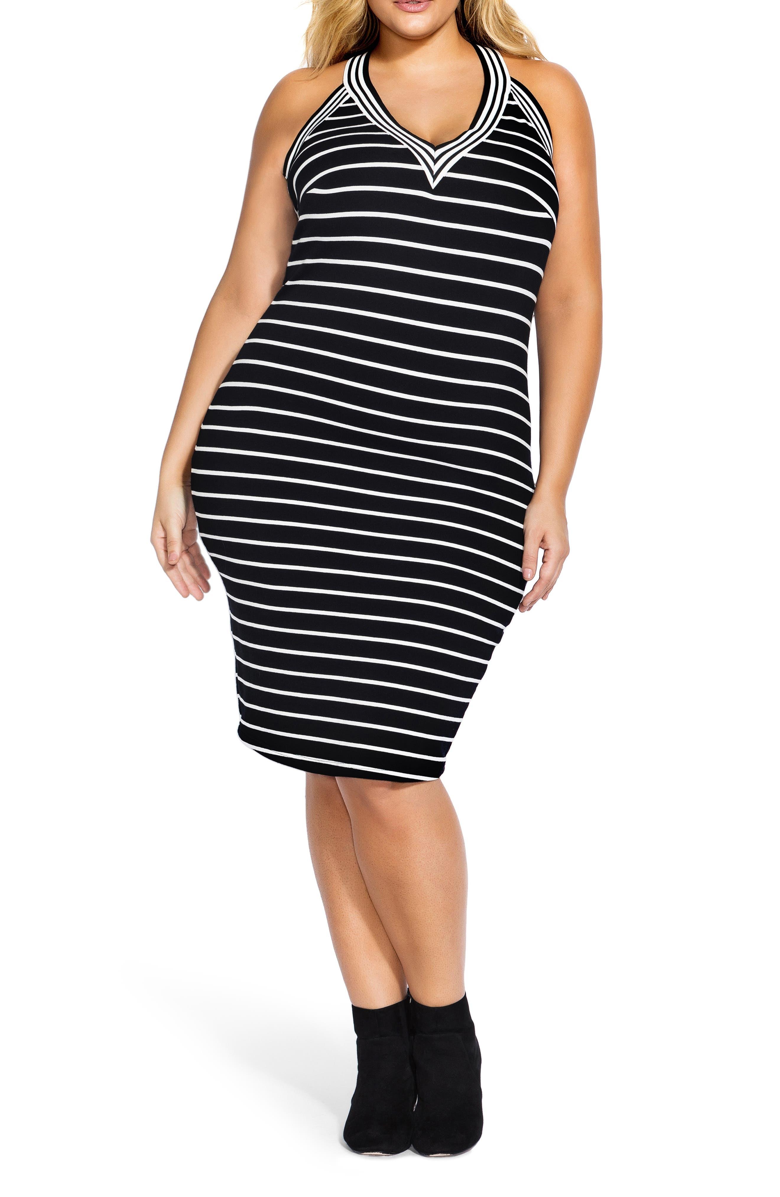CITY CHIC, Stripe Racerback Dress, Main thumbnail 1, color, WHITE STRIPE