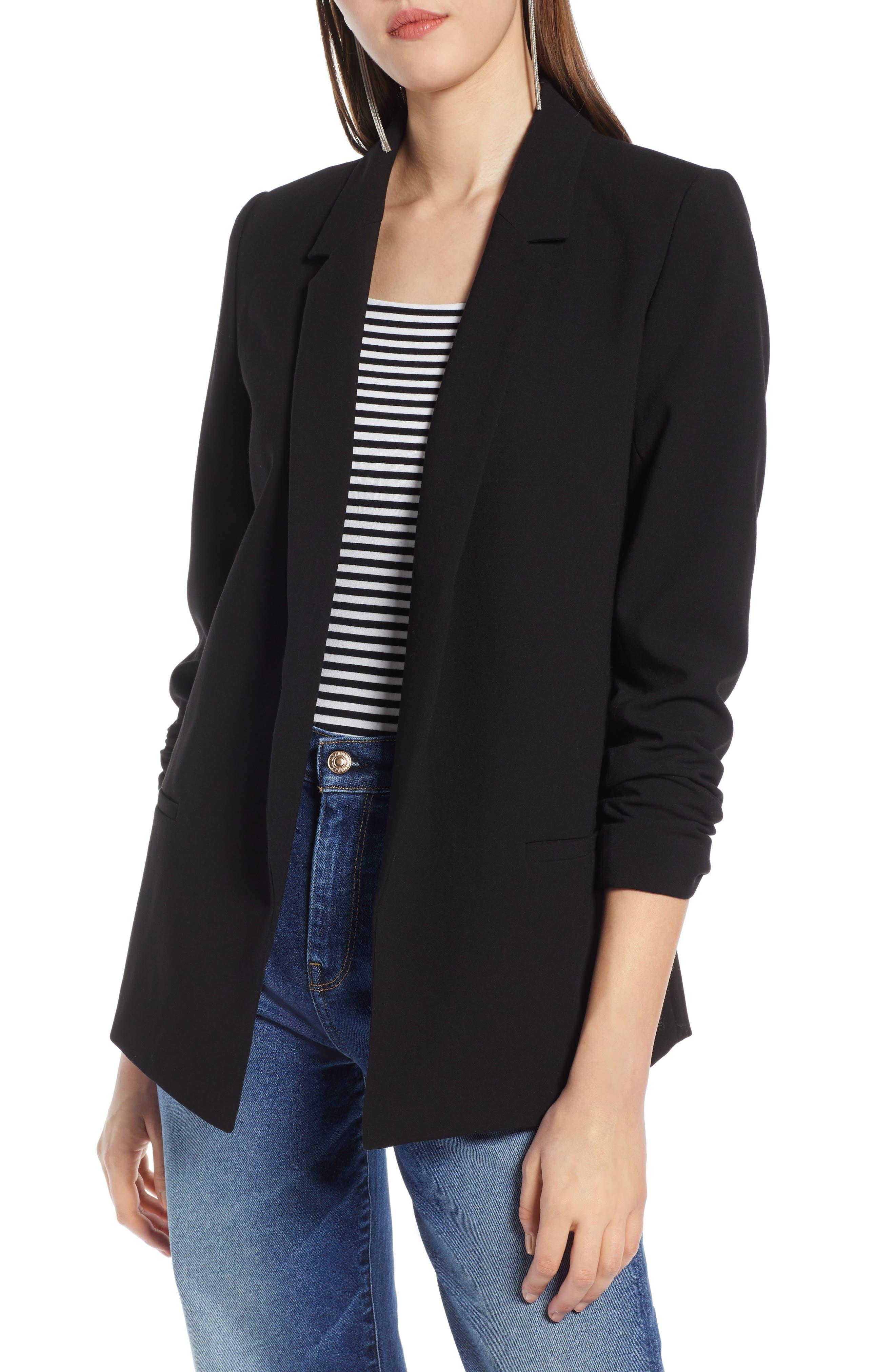 HALOGEN<SUP>®</SUP> Open Front Blazer, Main, color, BLACK