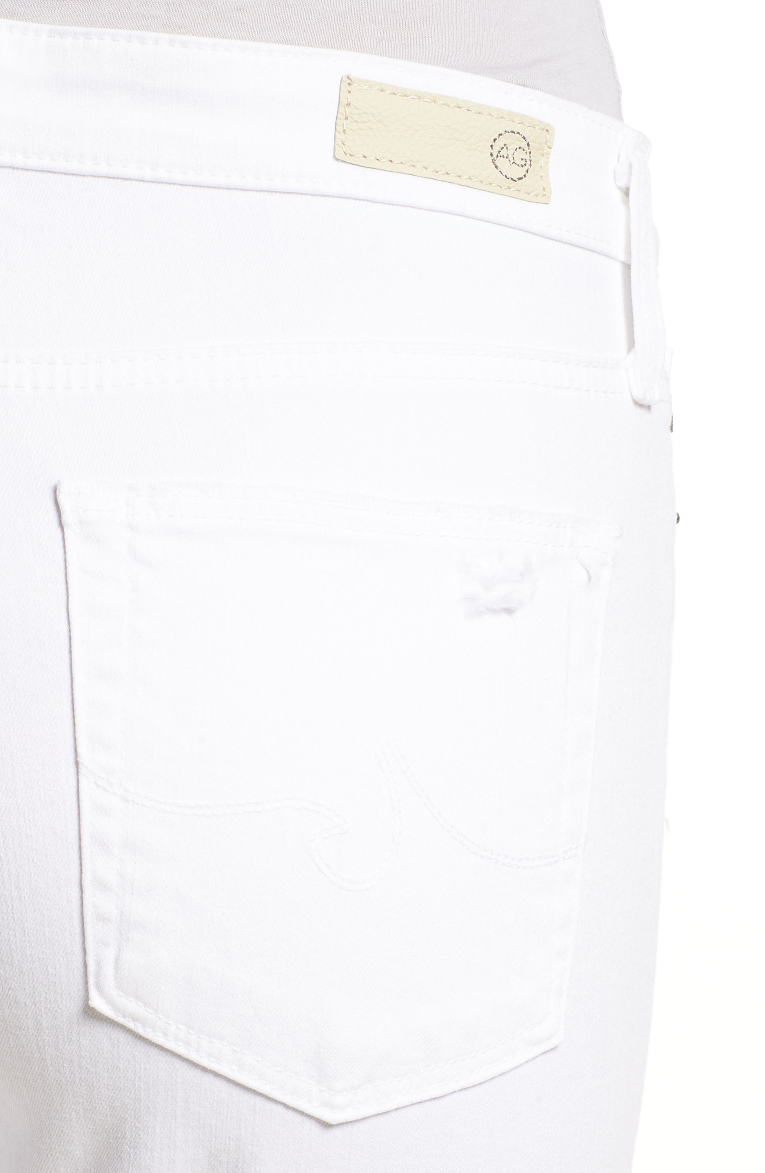AG, The Farrah High Waist Ankle Skinny Jeans, Alternate thumbnail 5, color, UNCHARTED WHITE