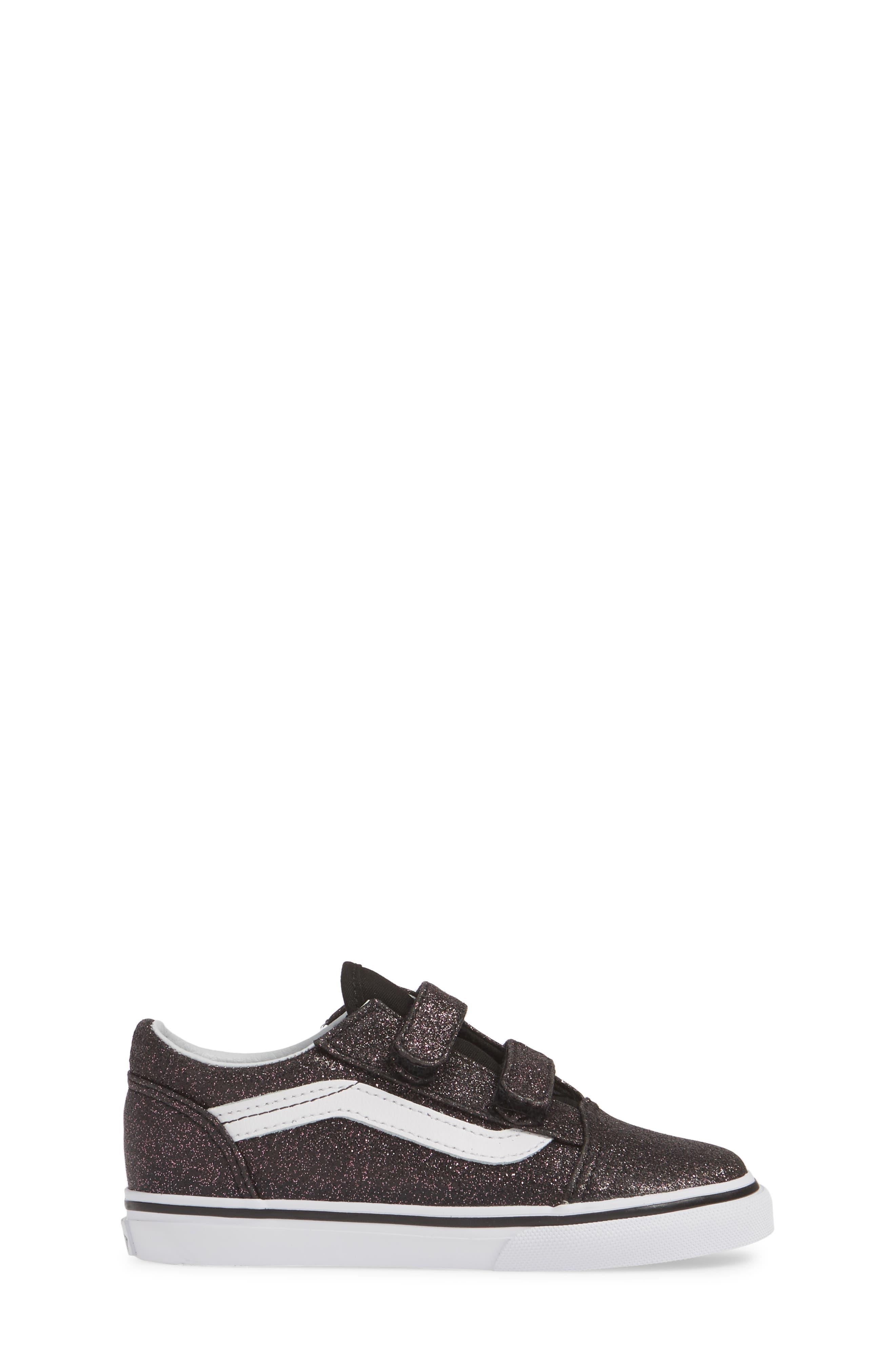 VANS, Old Skool V Glitter Sneaker, Alternate thumbnail 3, color, GLITTER STARS BLACK/ WHITE