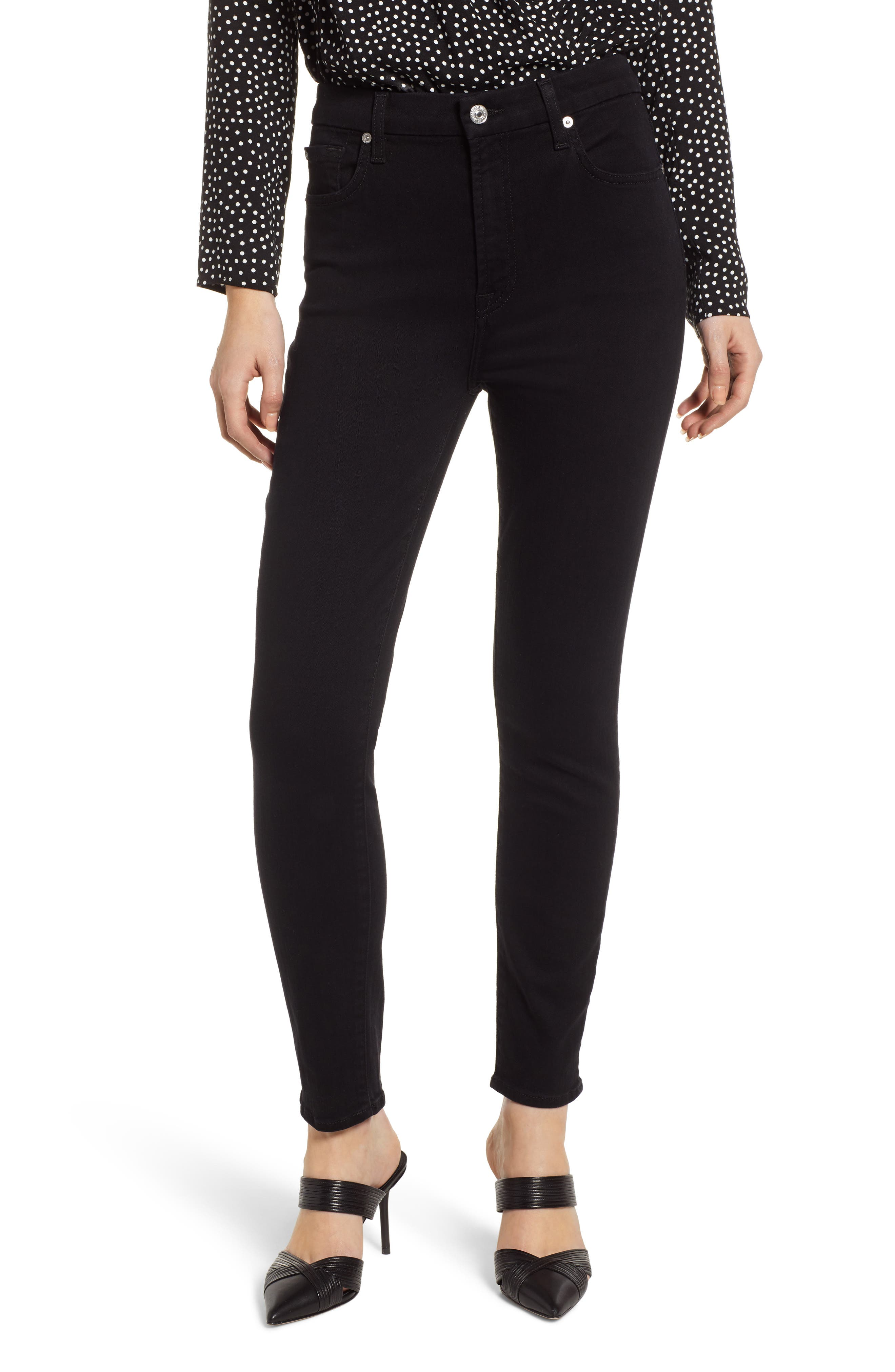 7 FOR ALL MANKIND<SUP>®</SUP>, Aubrey Super High Waist Ankle Skinny Jeans, Main thumbnail 1, color, PITCH BLACK