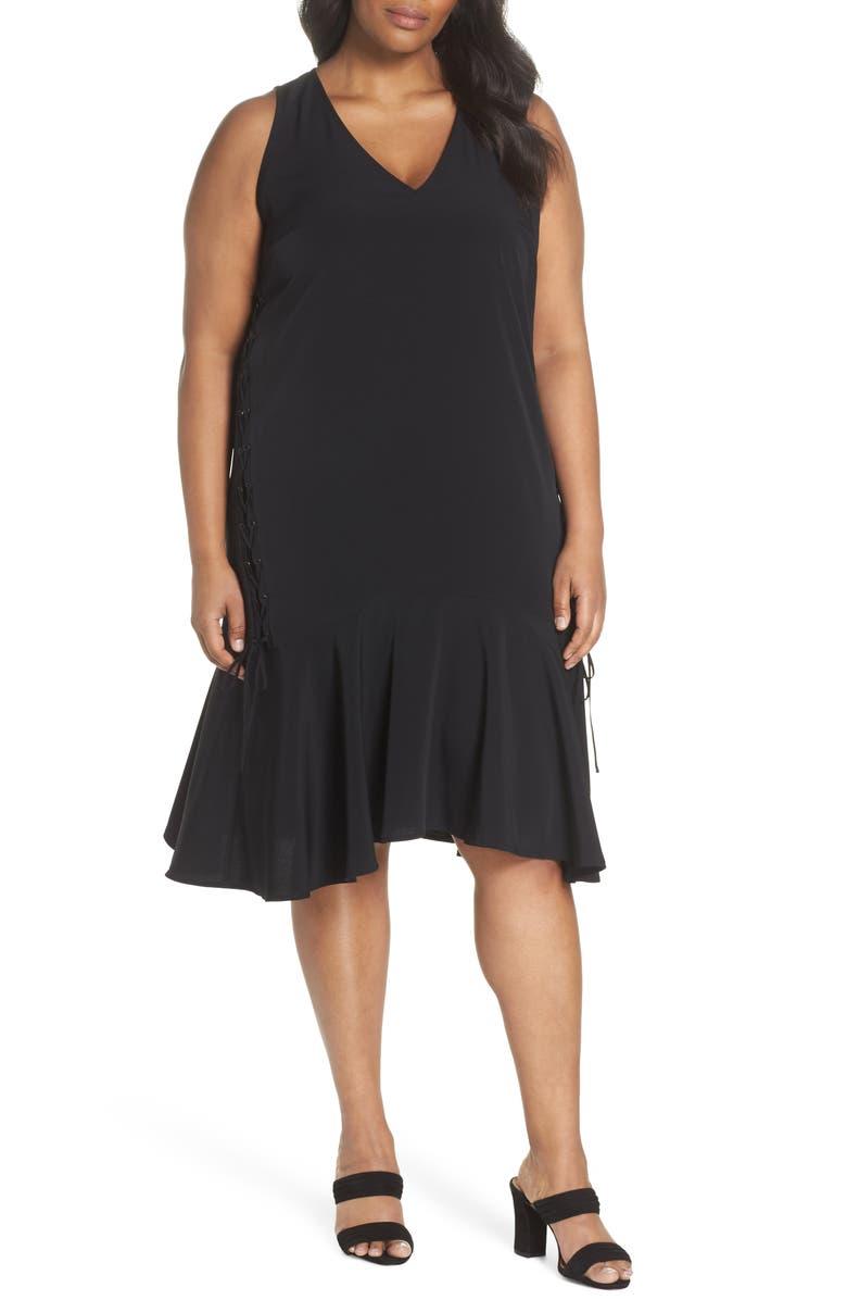 Sejour Lace-Up Drop Waist Dress (Plus Size) | Nordstrom