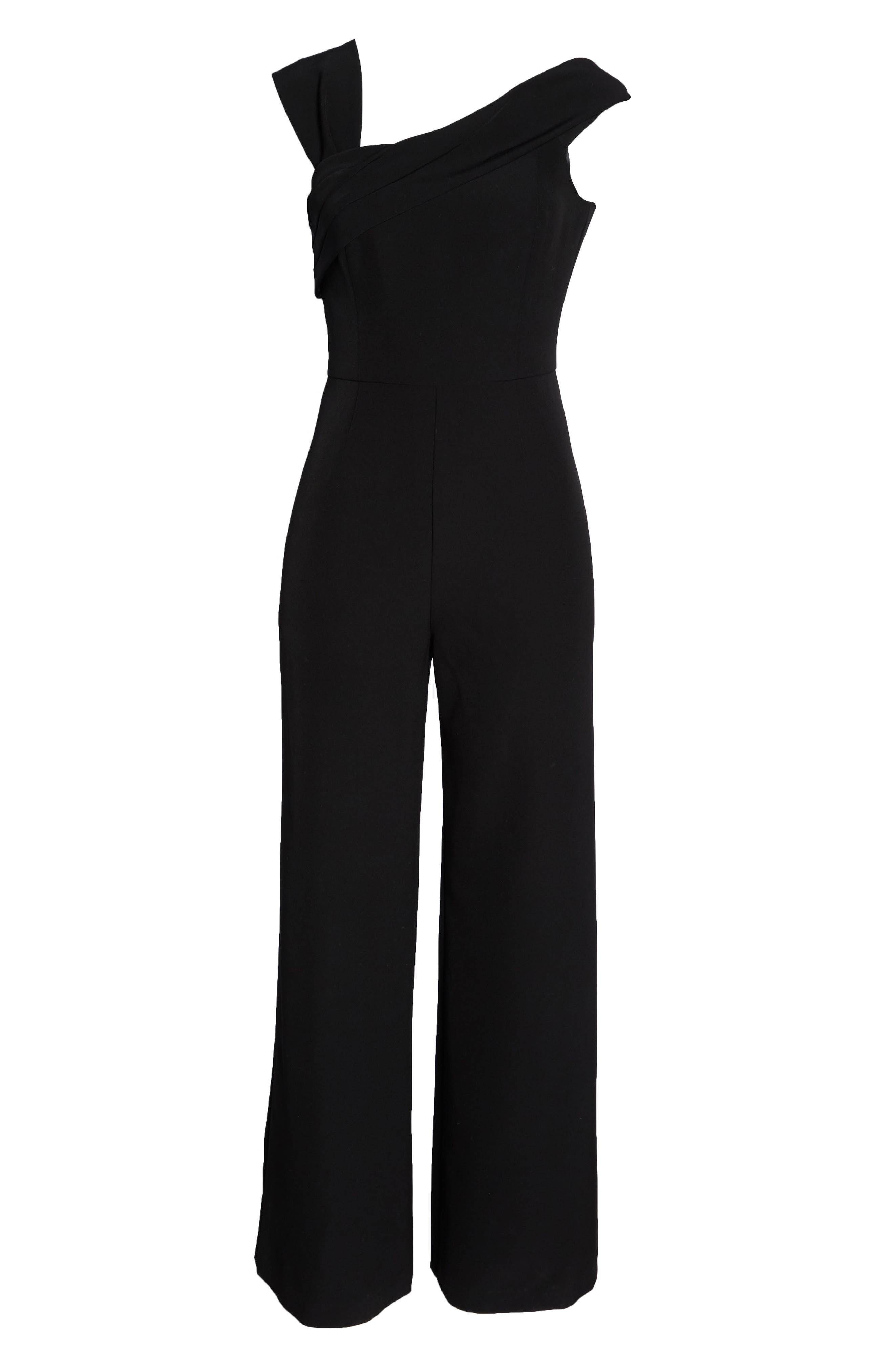 ELIZA J, Asymmetrical Neckline Jumpsuit, Alternate thumbnail 7, color, BLACK