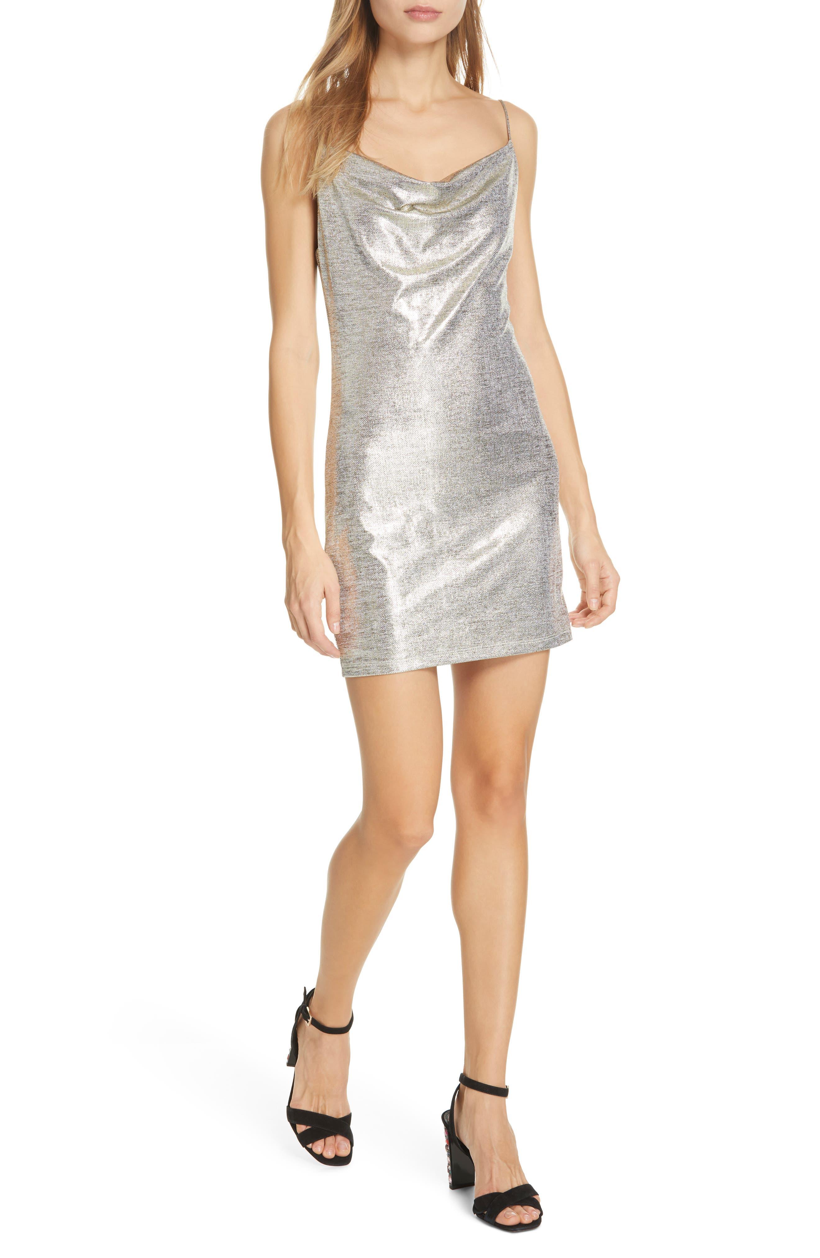 Alice + Olivia Harmie Cowl Neck Metallic Chambray Minidress, Metallic