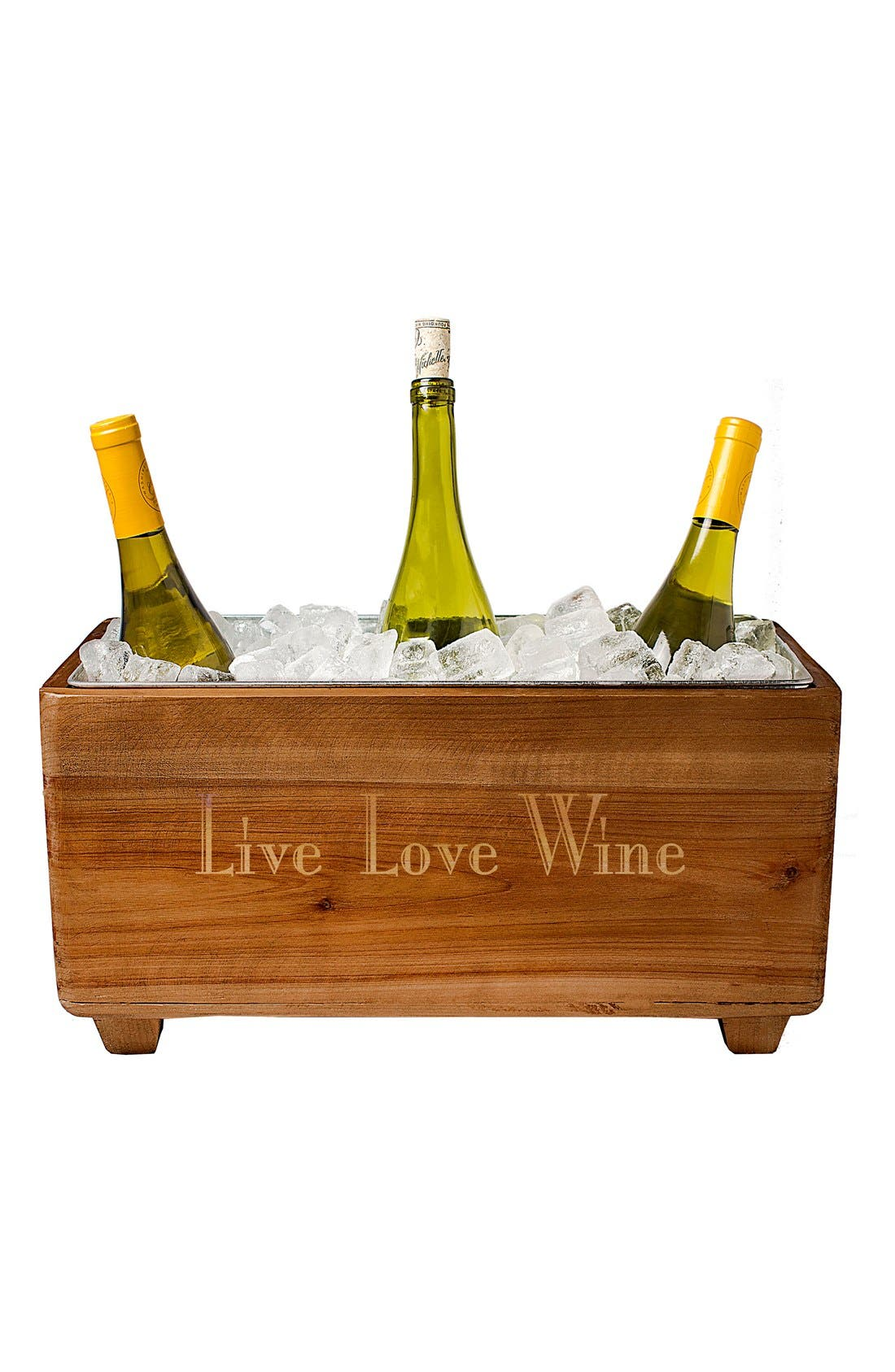 CATHY'S CONCEPTS Live Love Wine Wooden Wine Trough, Main, color, BROWN