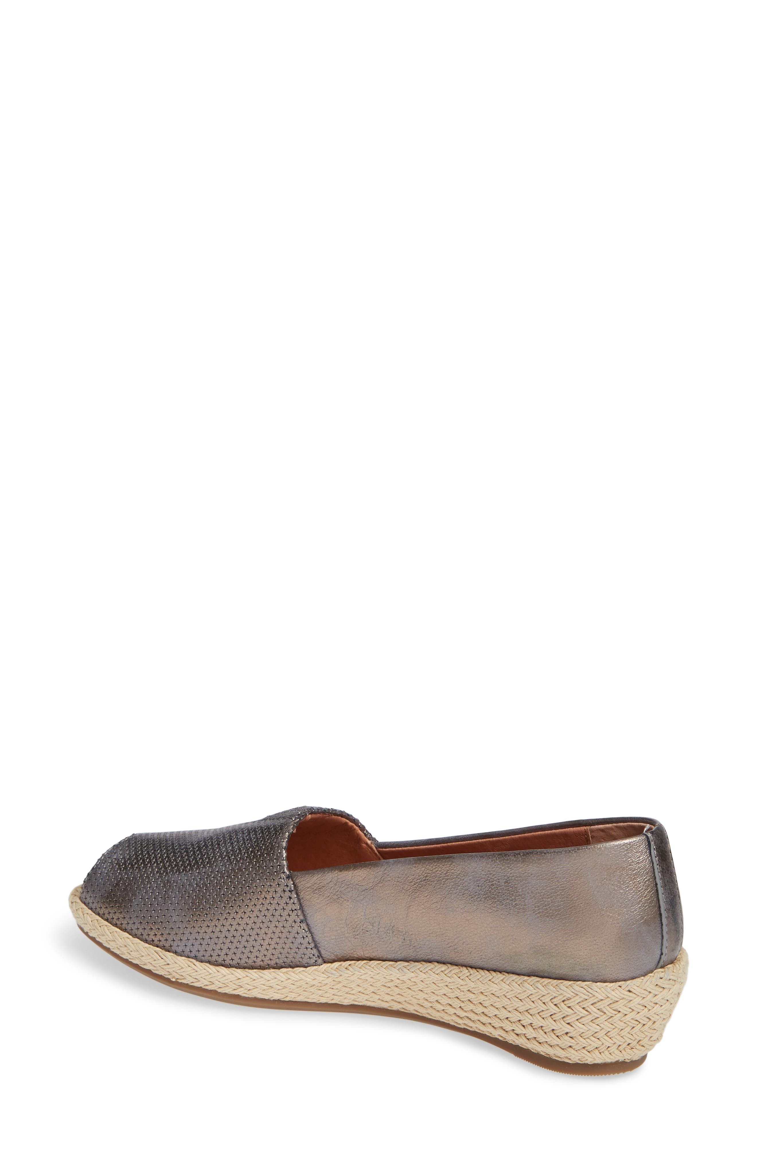 GENTLE SOULS BY KENNETH COLE, Luca Open Toe Wedge Espadrille, Alternate thumbnail 2, color, PEWTER METALLIC LEATHER