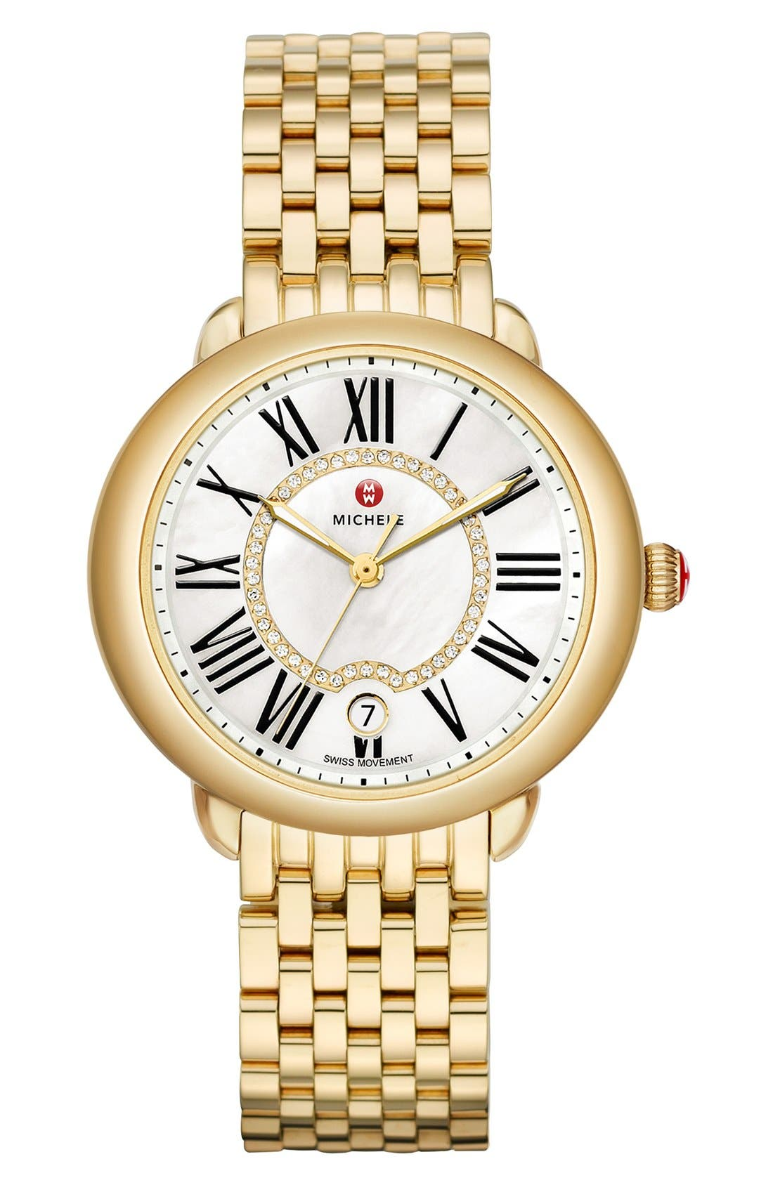 MICHELE, Serein 16 Diamond Dial Watch Head, 34mm x 36mm, Alternate thumbnail 3, color, GOLD