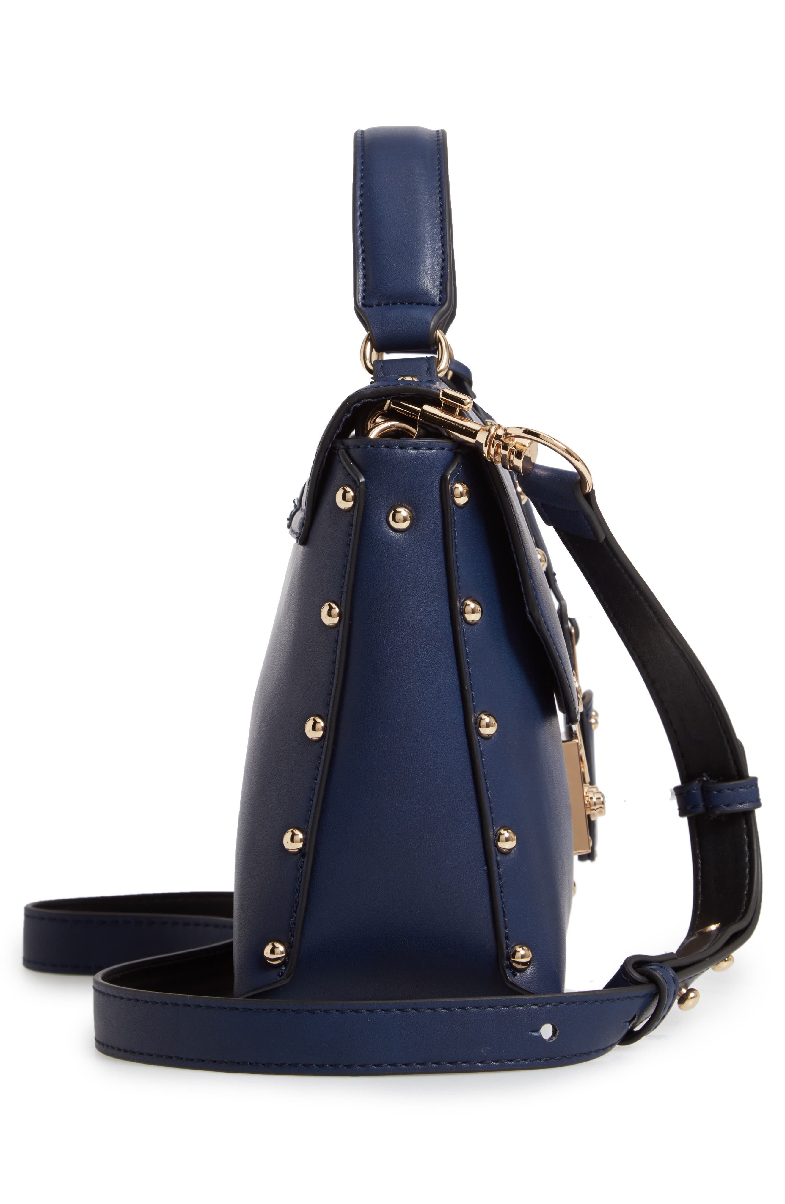 CESCA, Studded Faux Leather Box Crossbody Bag, Alternate thumbnail 6, color, 400