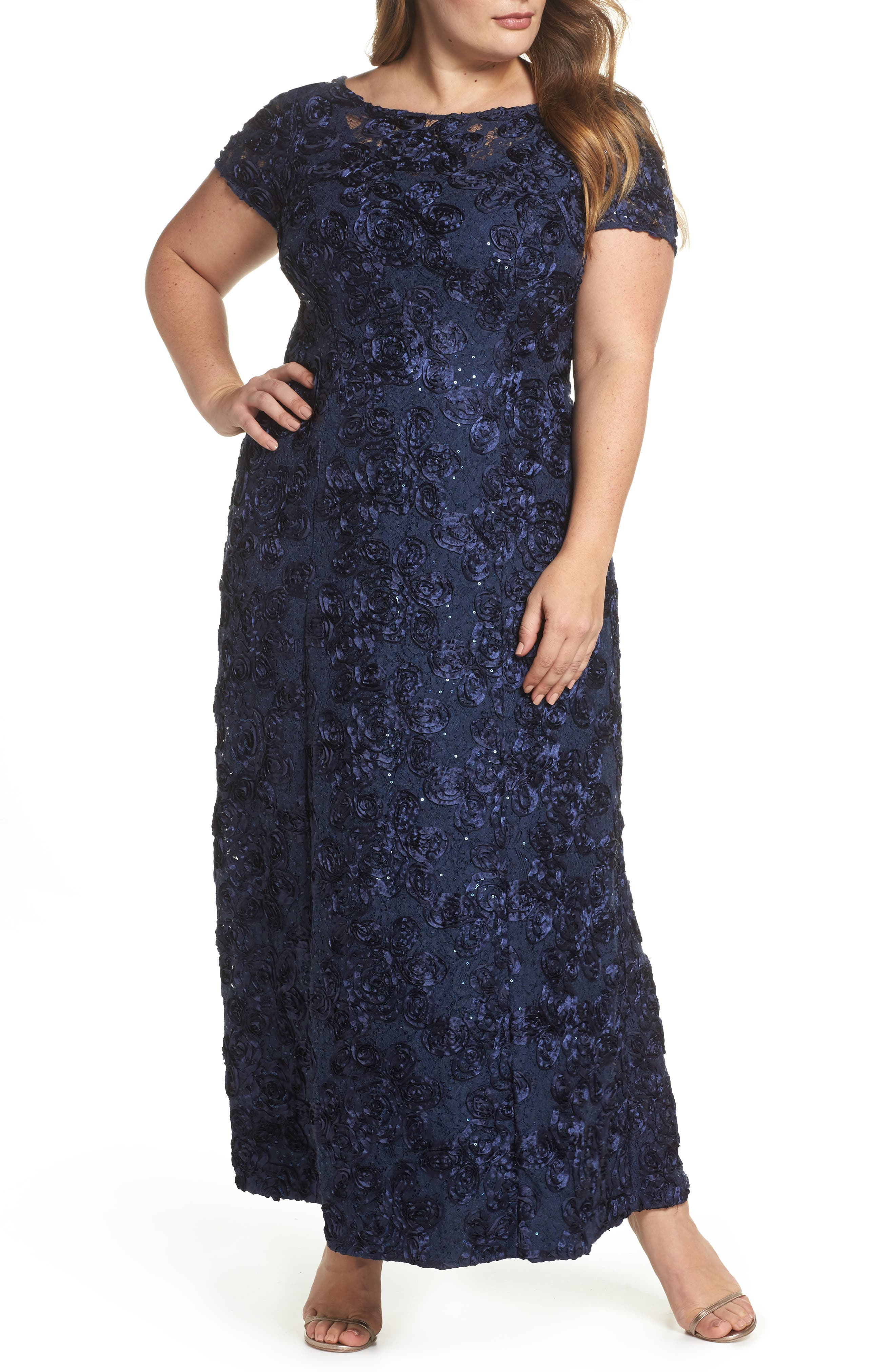 Plus Size Alex Evenings Rosette Lace Short Sleeve A-Line Gown, Blue