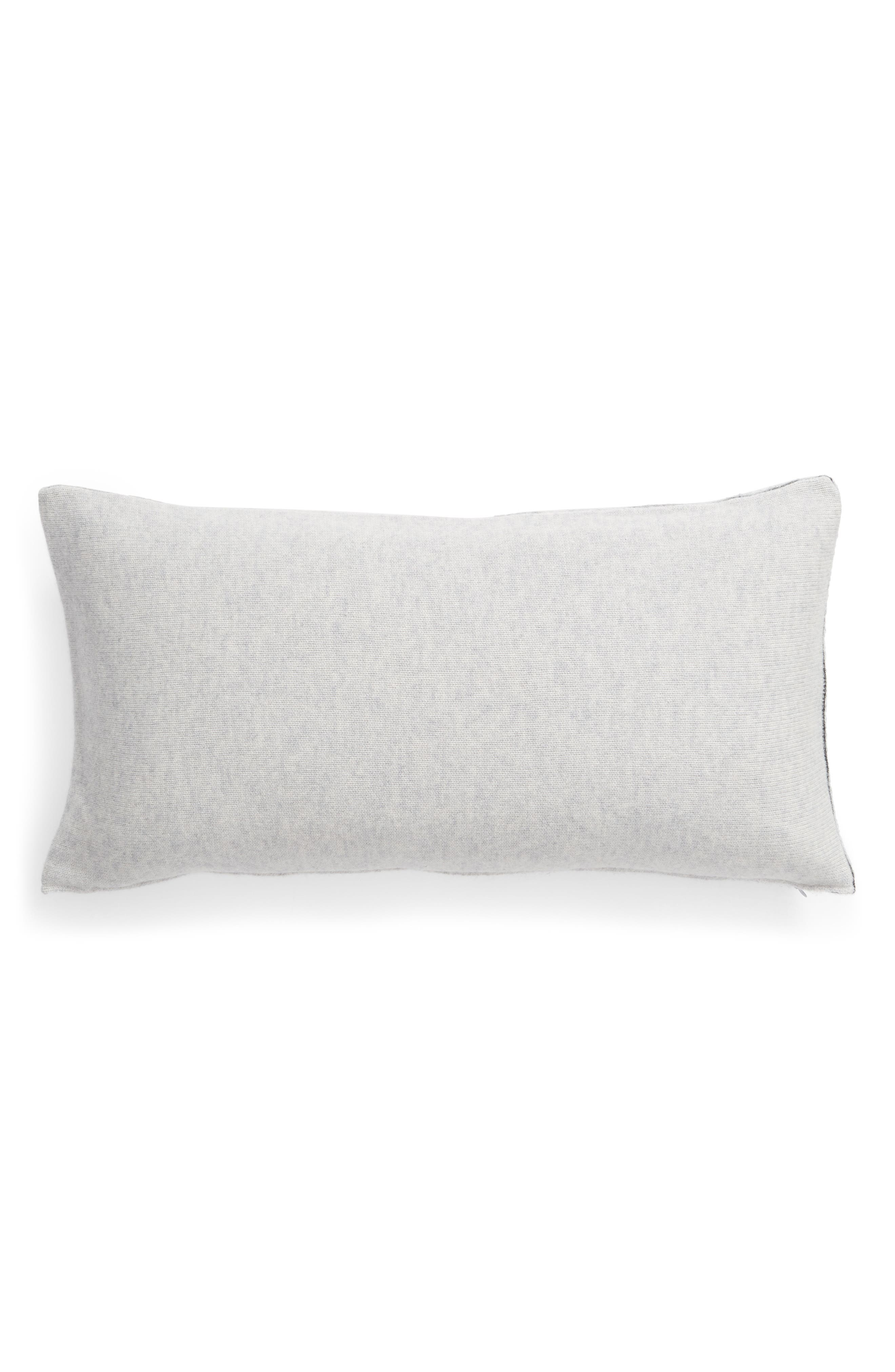 NORDSTROM SIGNATURE, Ombré Stripe Cashmere Accent Pillow, Alternate thumbnail 2, color, GREY CLAY MULTI