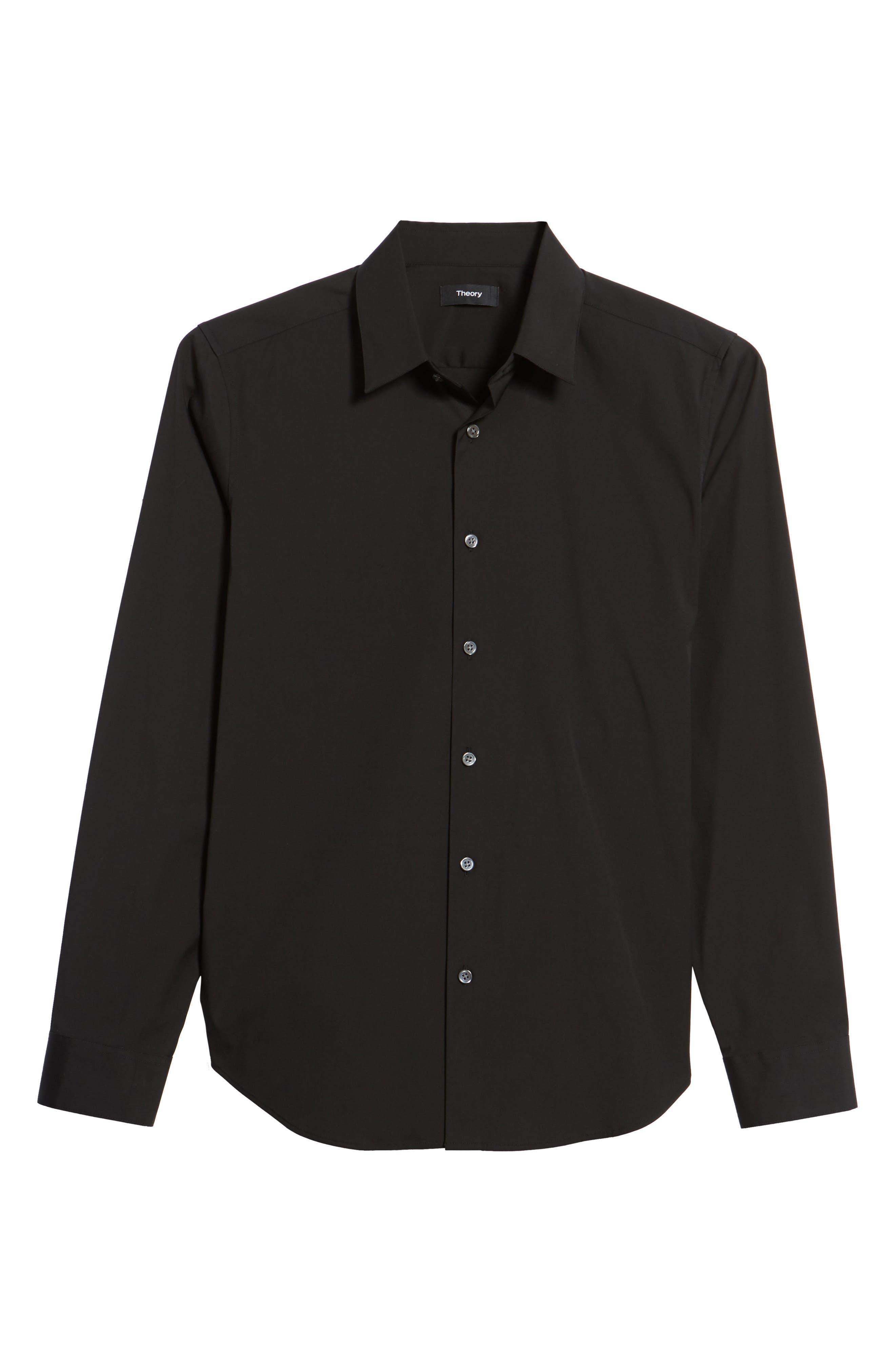 THEORY 'Sylvain' Trim Fit Long Sleeve Sport Shirt, Main, color, BLACK