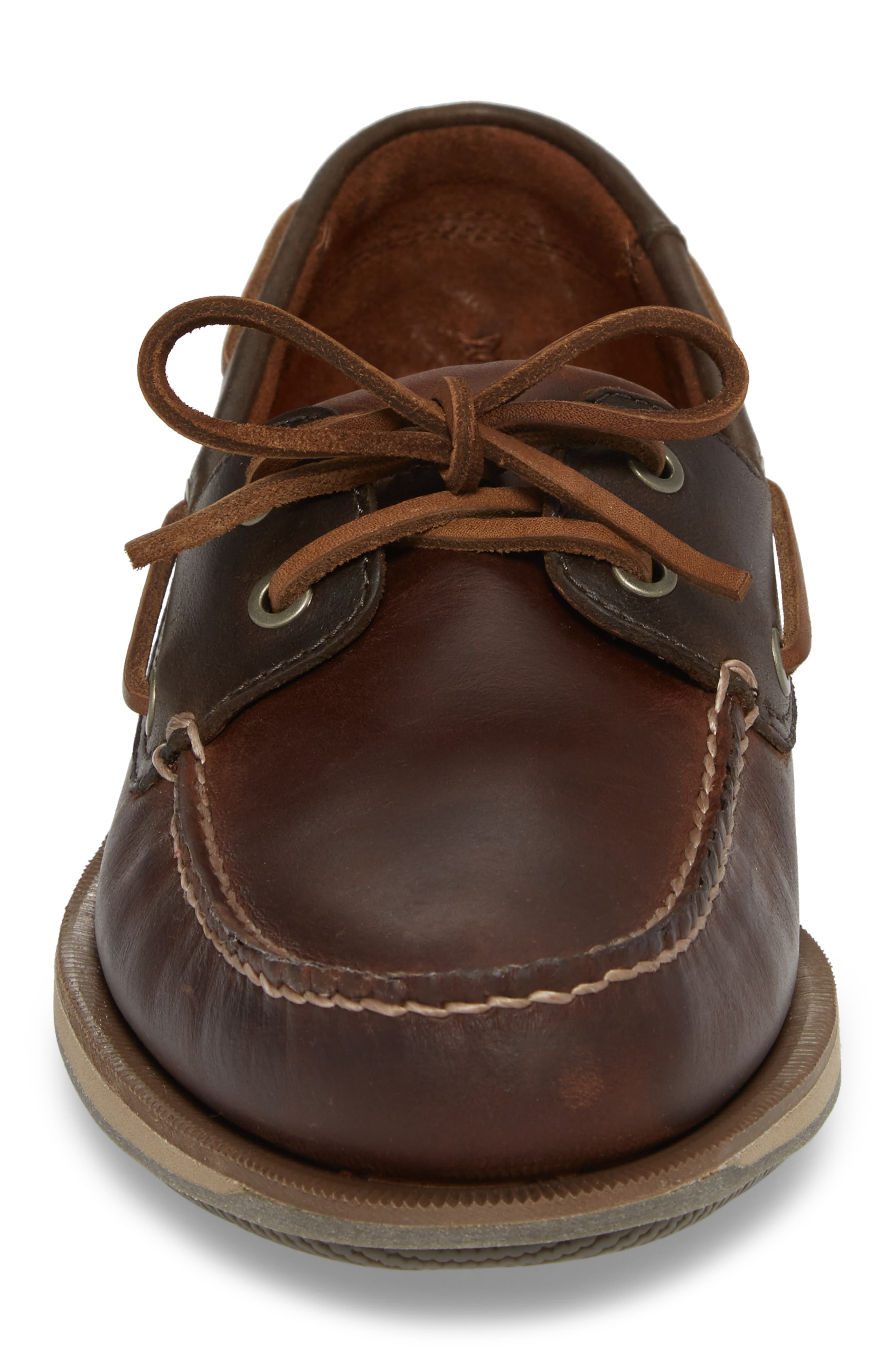 ROCKPORT, 'Perth' Boat Shoe, Alternate thumbnail 4, color, DARK BROWN LEATHER