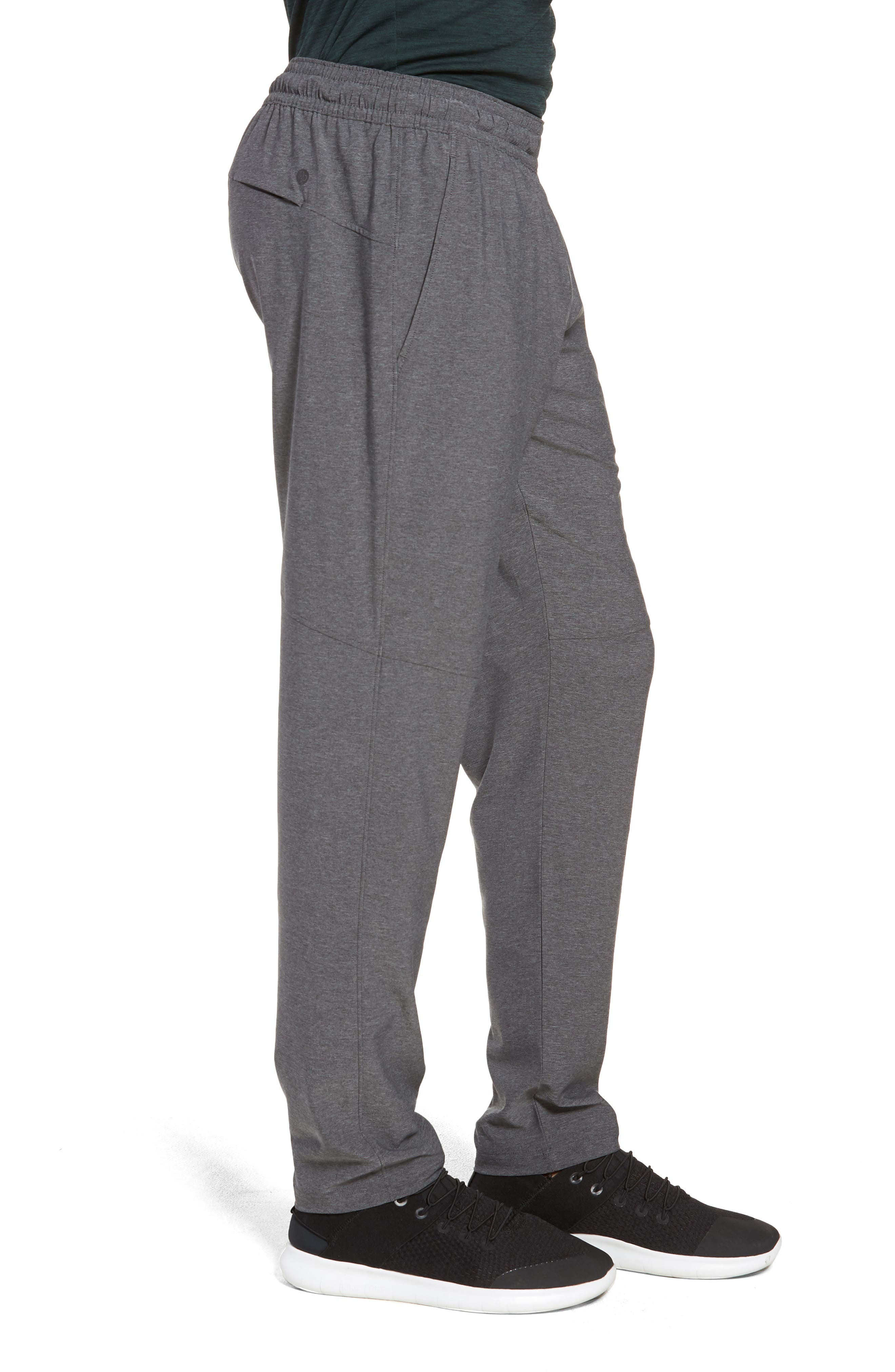 ZELLA, Tapered Stretch Track Pants, Alternate thumbnail 4, color, GREY OBSIDIAN MELANGE