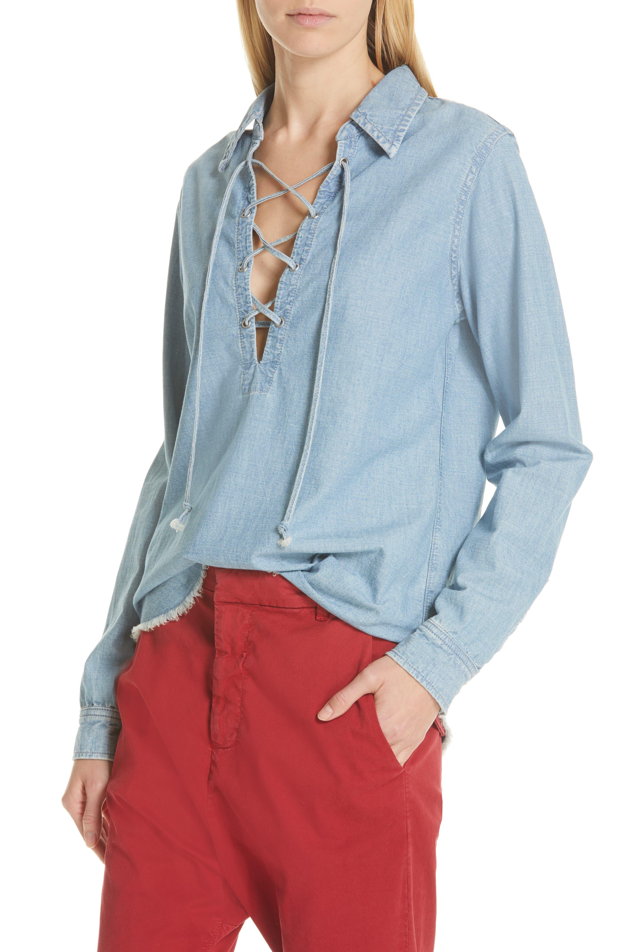 NILI LOTAN, Mallory Chambray Shirt, Alternate thumbnail 4, color, SKY BLUE