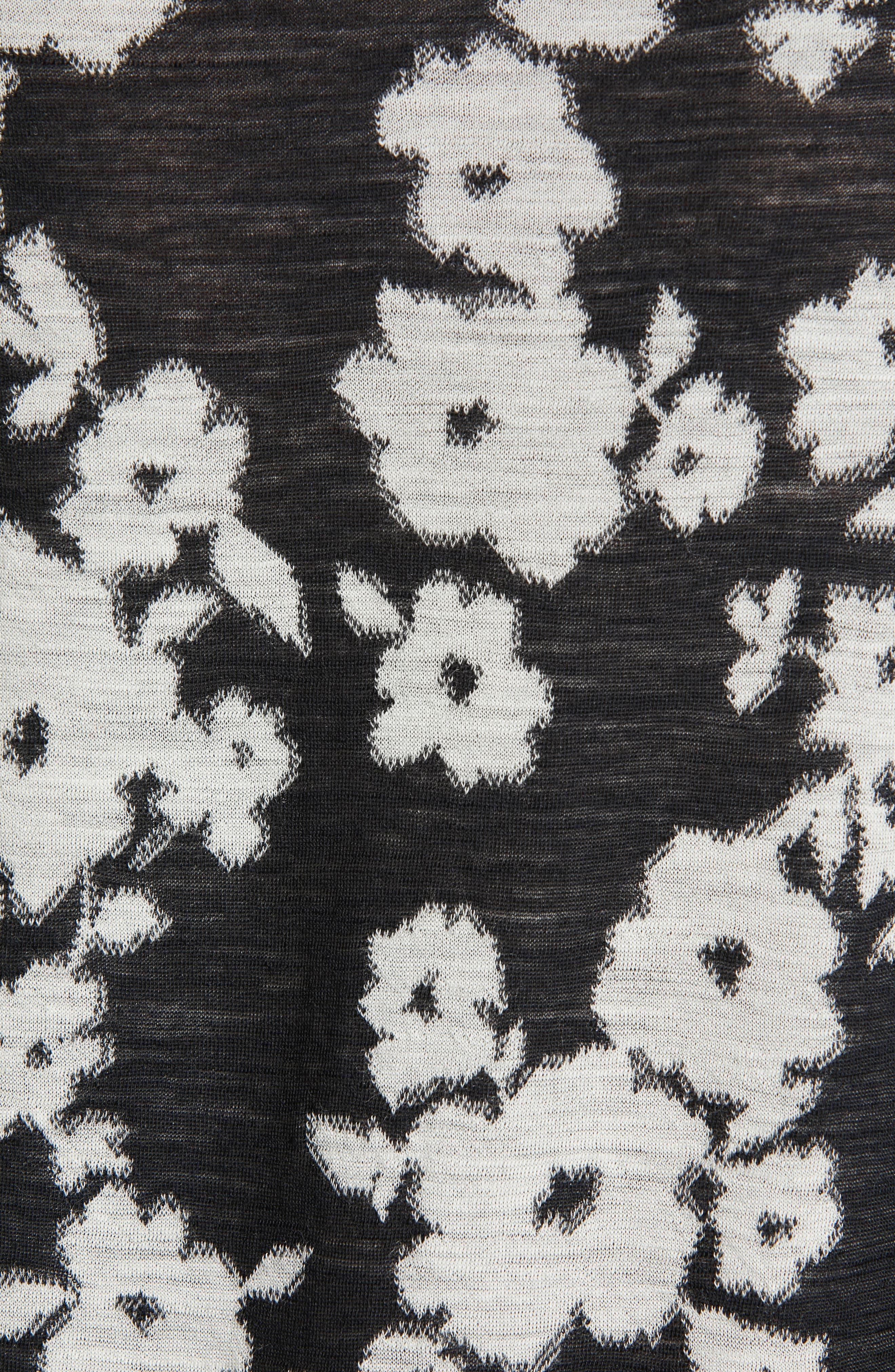TRICOT COMME DES GARÇONS, Floral Jacquard Top, Alternate thumbnail 6, color, BLACK/ OFF WHITE