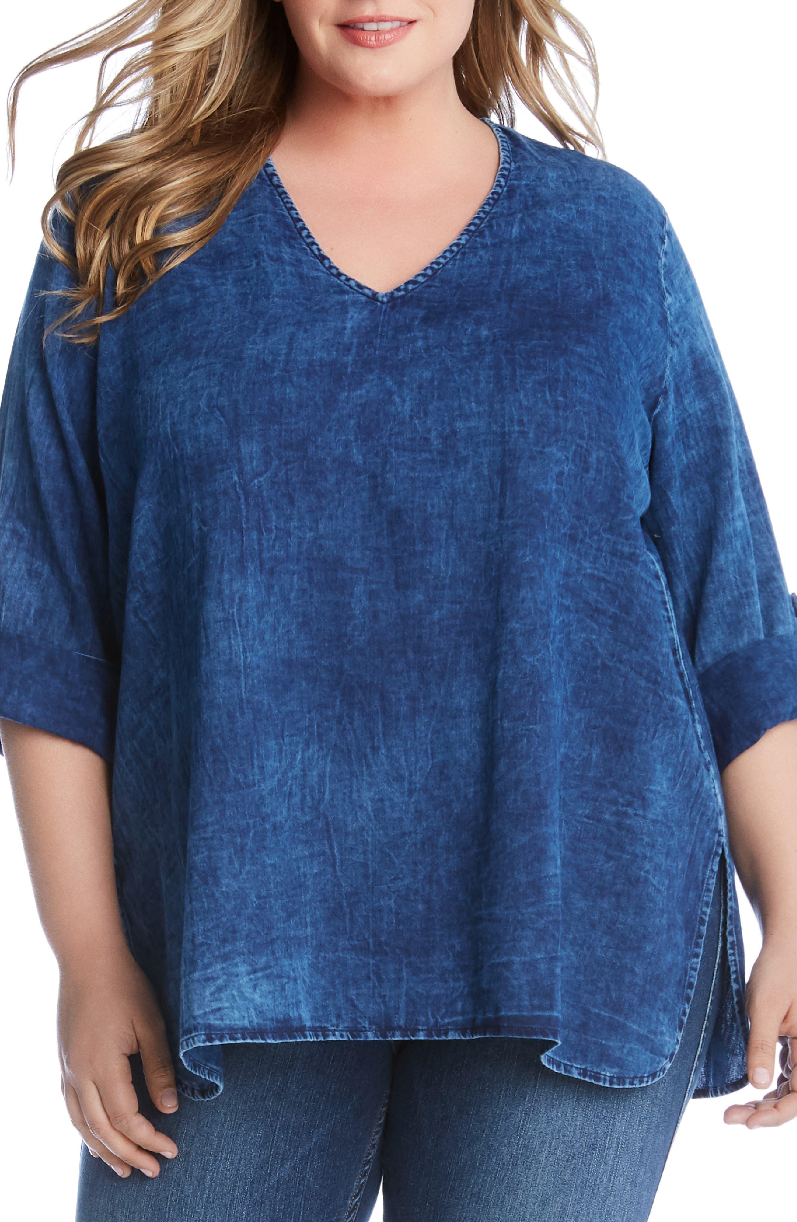 KAREN KANE High/Low Shirttail Denim Top, Main, color, 400
