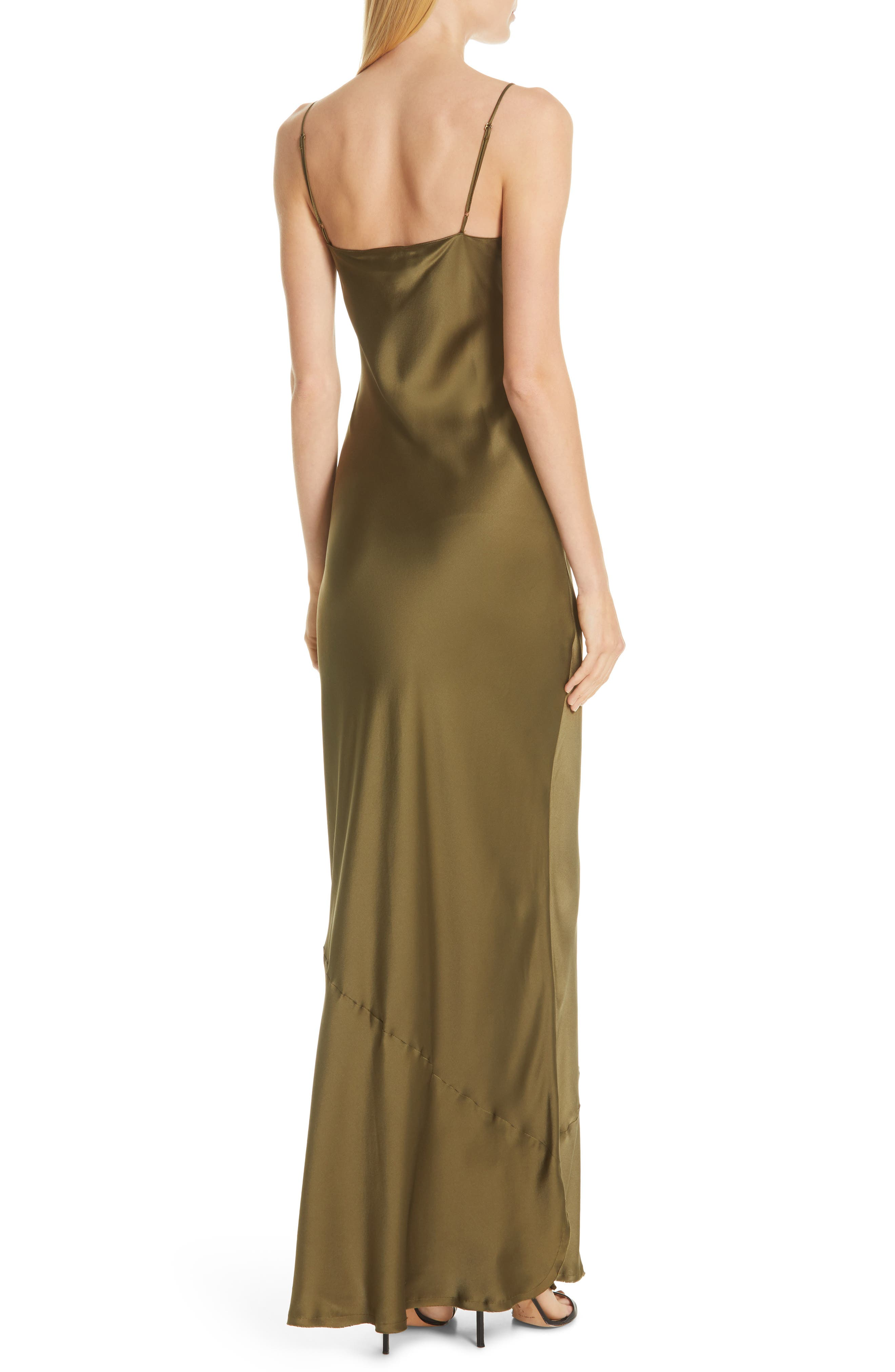 NILI LOTAN, Silk Camisole Gown, Alternate thumbnail 2, color, OLIVE