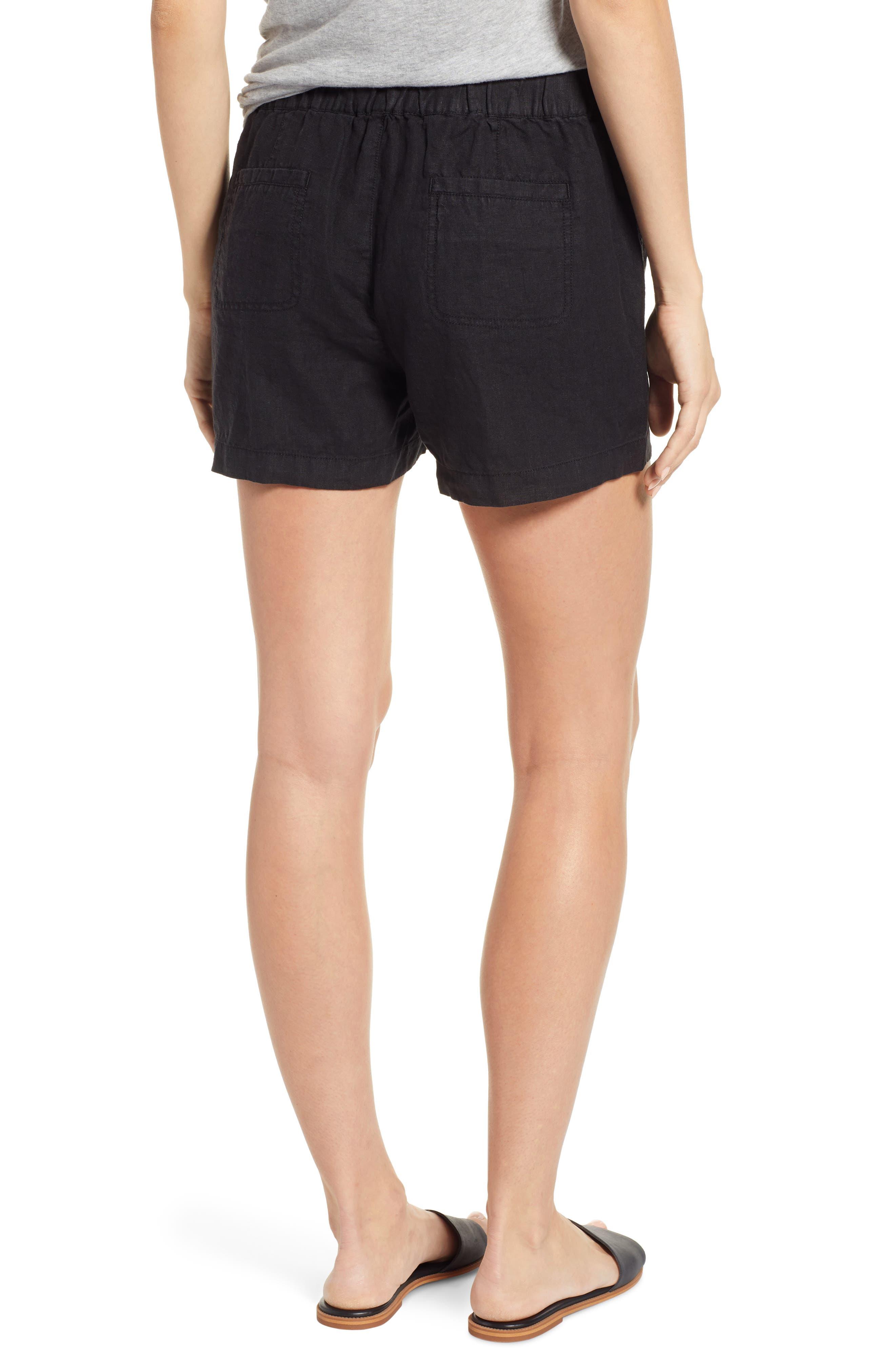 CASLON<SUP>®</SUP>, Linen Shorts, Alternate thumbnail 2, color, BLACK