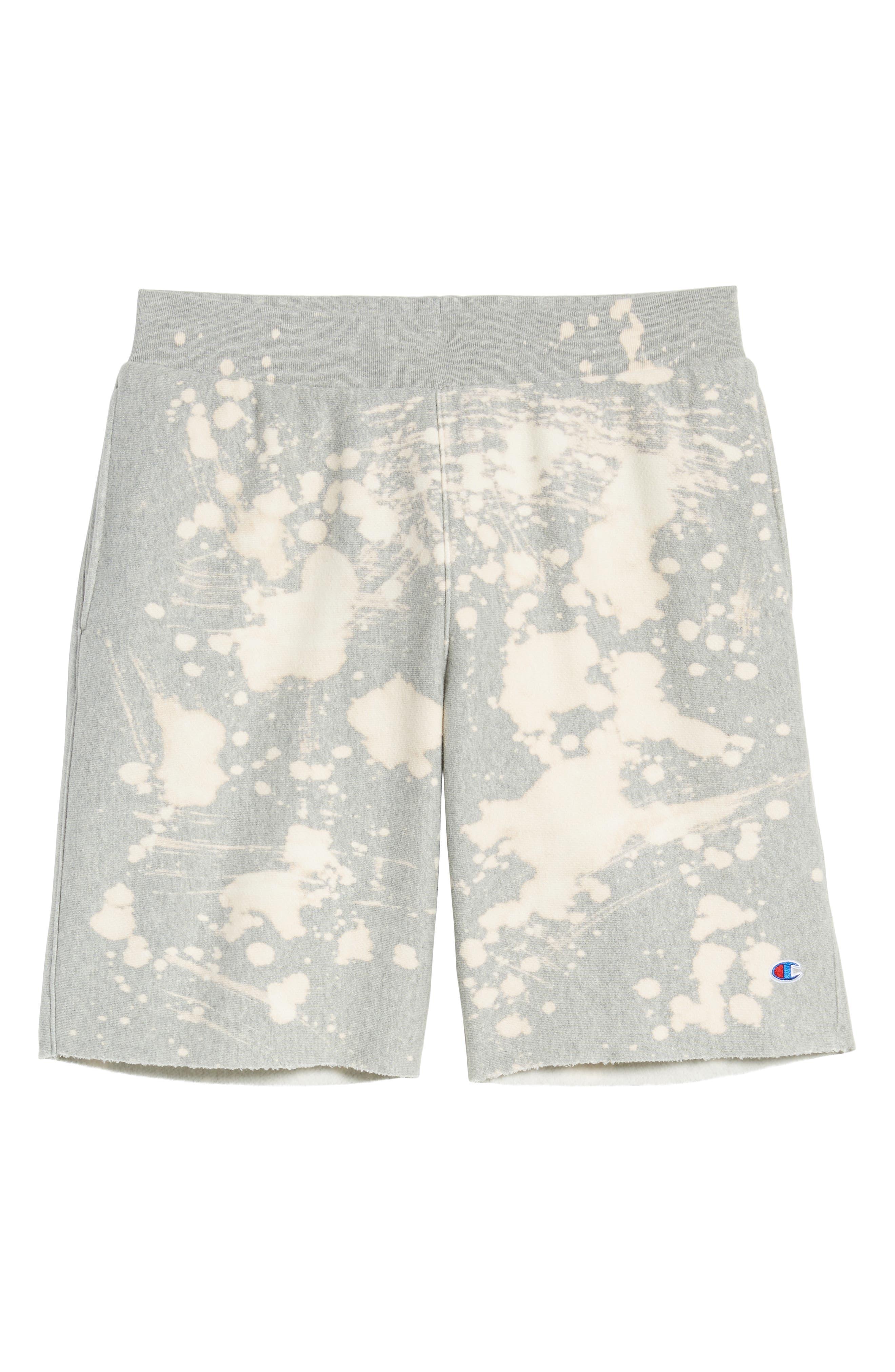 CHAMPION, Bleach Splatter Crewneck Athletic Shorts, Alternate thumbnail 7, color, OXFORD GREY