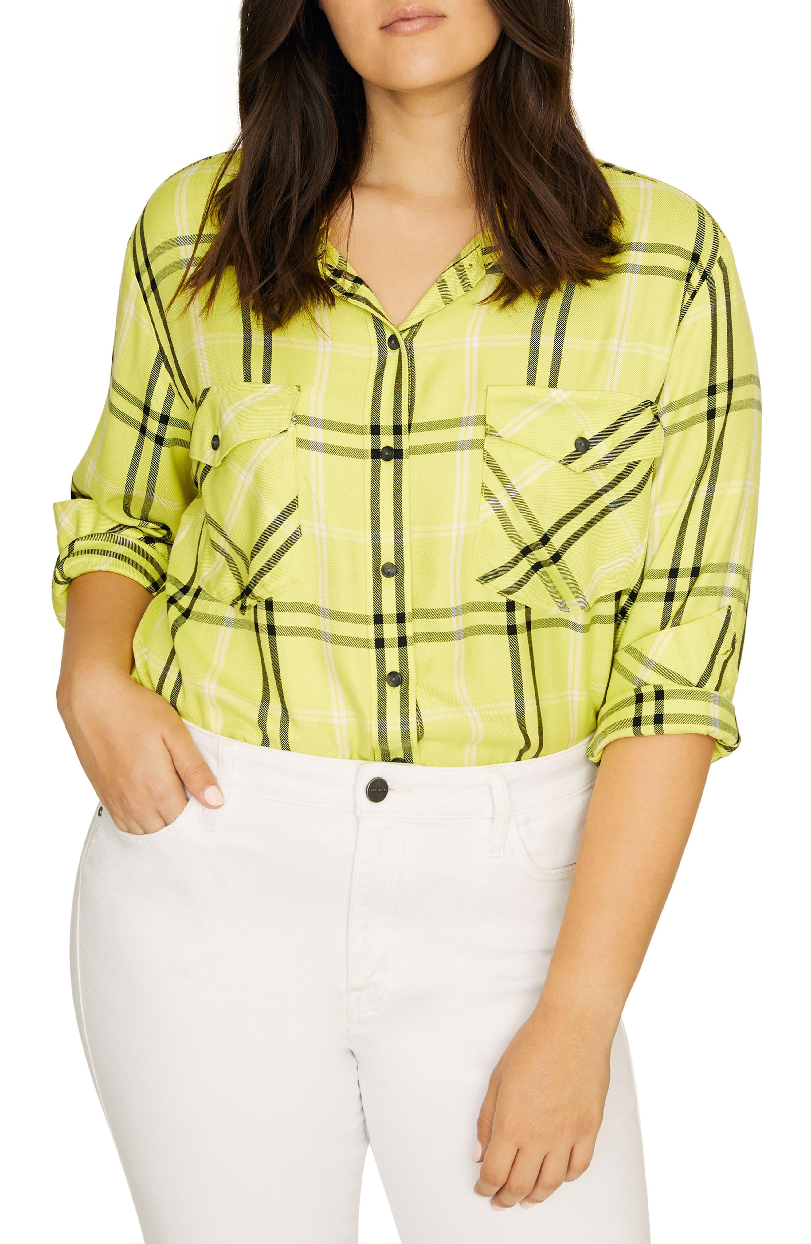 SANCTUARY Boyfriend for Life Oversize Check Shirt, Main, color, 700