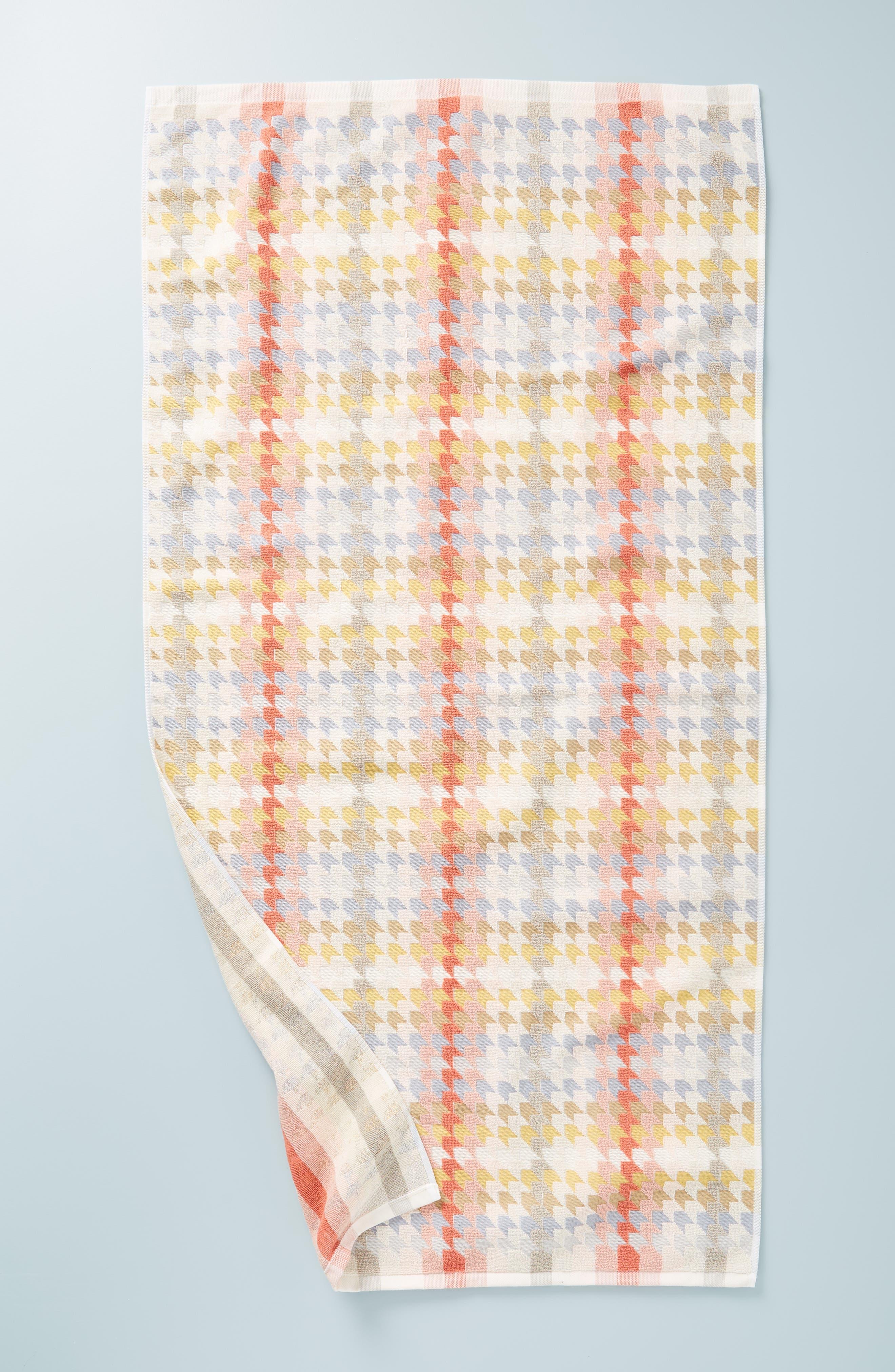 ANTHROPOLOGIE, Noella Bath Towel, Main thumbnail 1, color, ORANGE COMBO