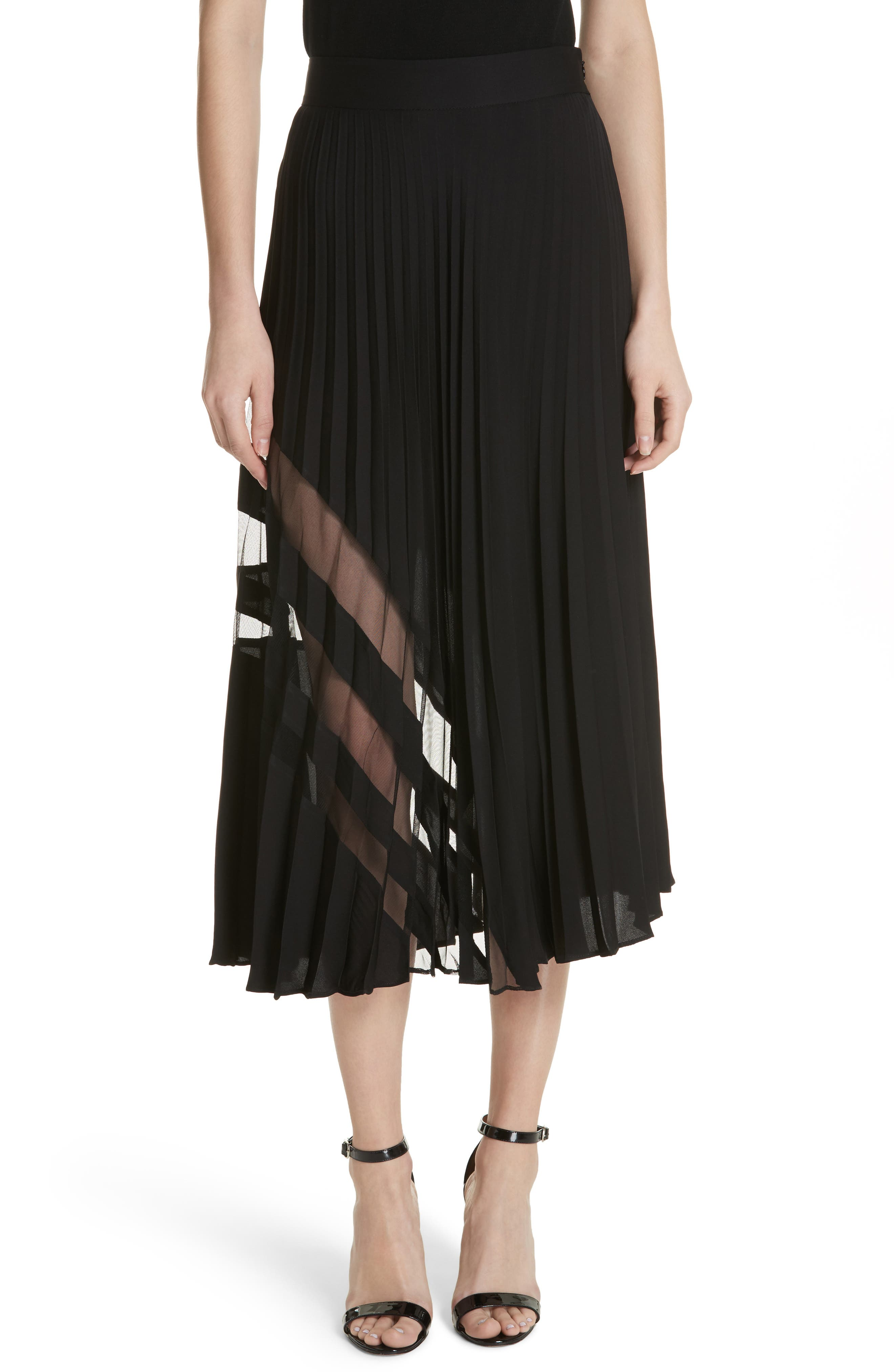 MILLY, Pleated Maxi Skirt, Main thumbnail 1, color, 007