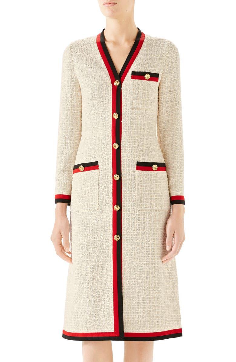 e22331f90e7 Gucci Ribbon-Trim Button Front Gauze Tweed Dress In Neutrals
