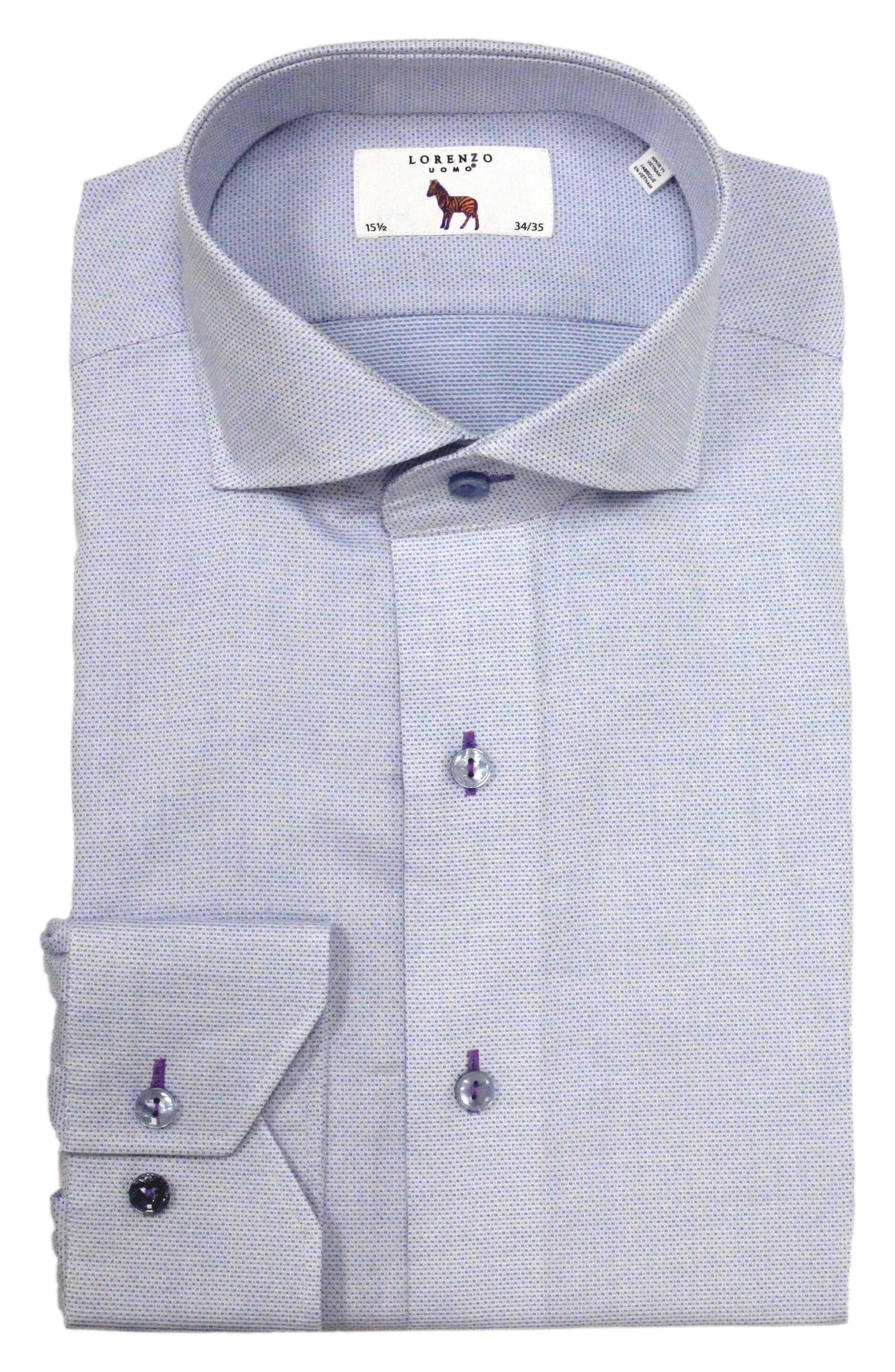 LORENZO UOMO Trim Fit Solid Dress Shirt, Main, color, LIGHT BLUE