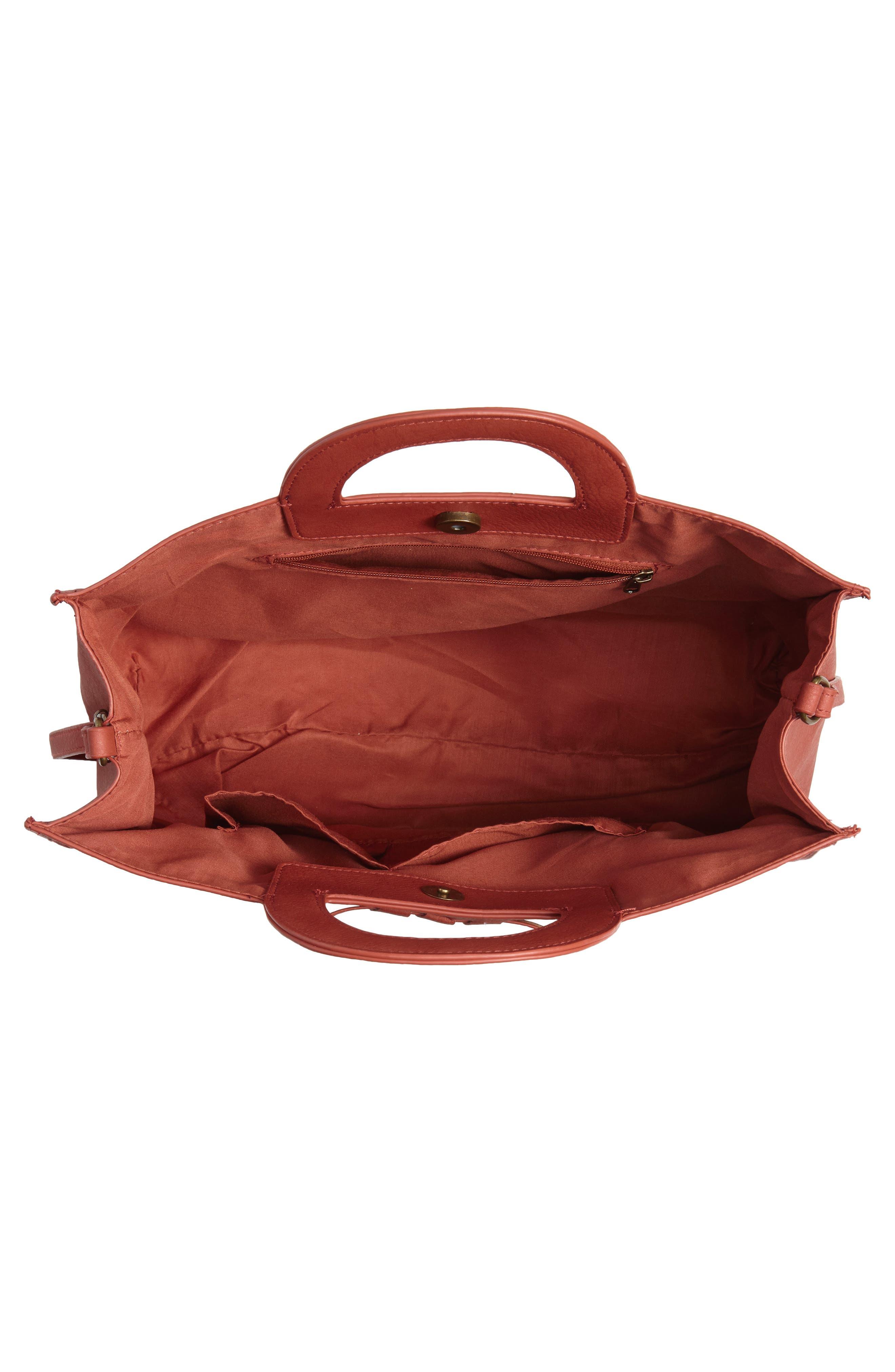T-SHIRT & JEANS, Faux Leather Top Handle Tote Bag, Alternate thumbnail 5, color, 805
