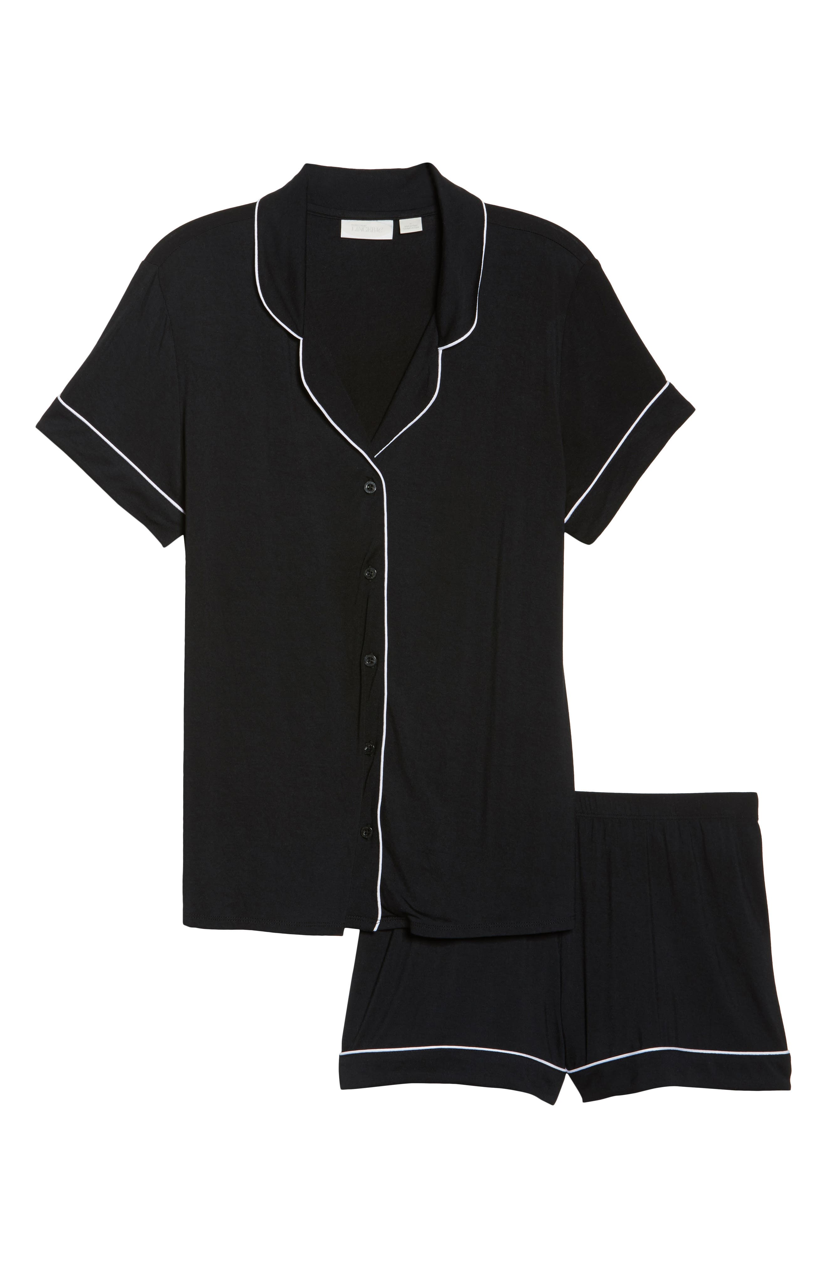 NORDSTROM LINGERIE, Moonlight Short Pajamas, Main thumbnail 1, color, BLACK