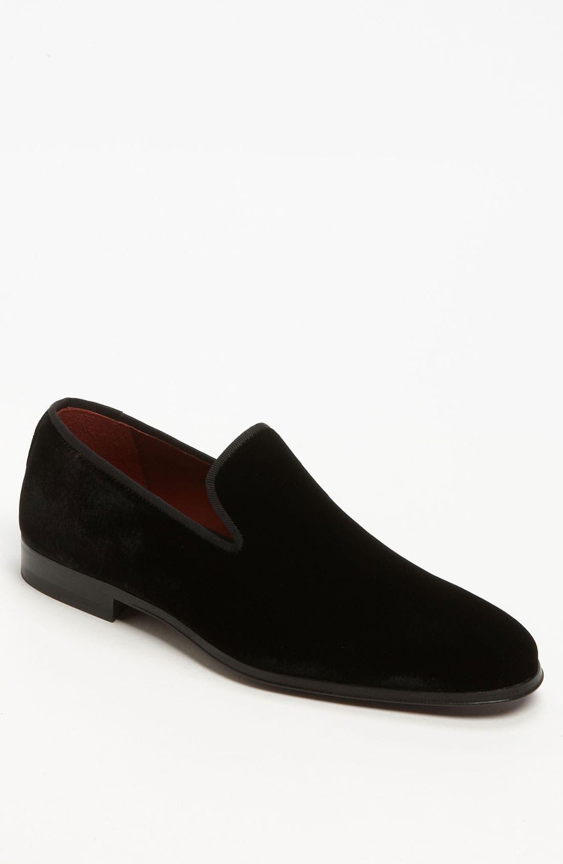 MAGNANNI, 'Dorio' Velvet Venetian Loafer, Main thumbnail 1, color, BLACK