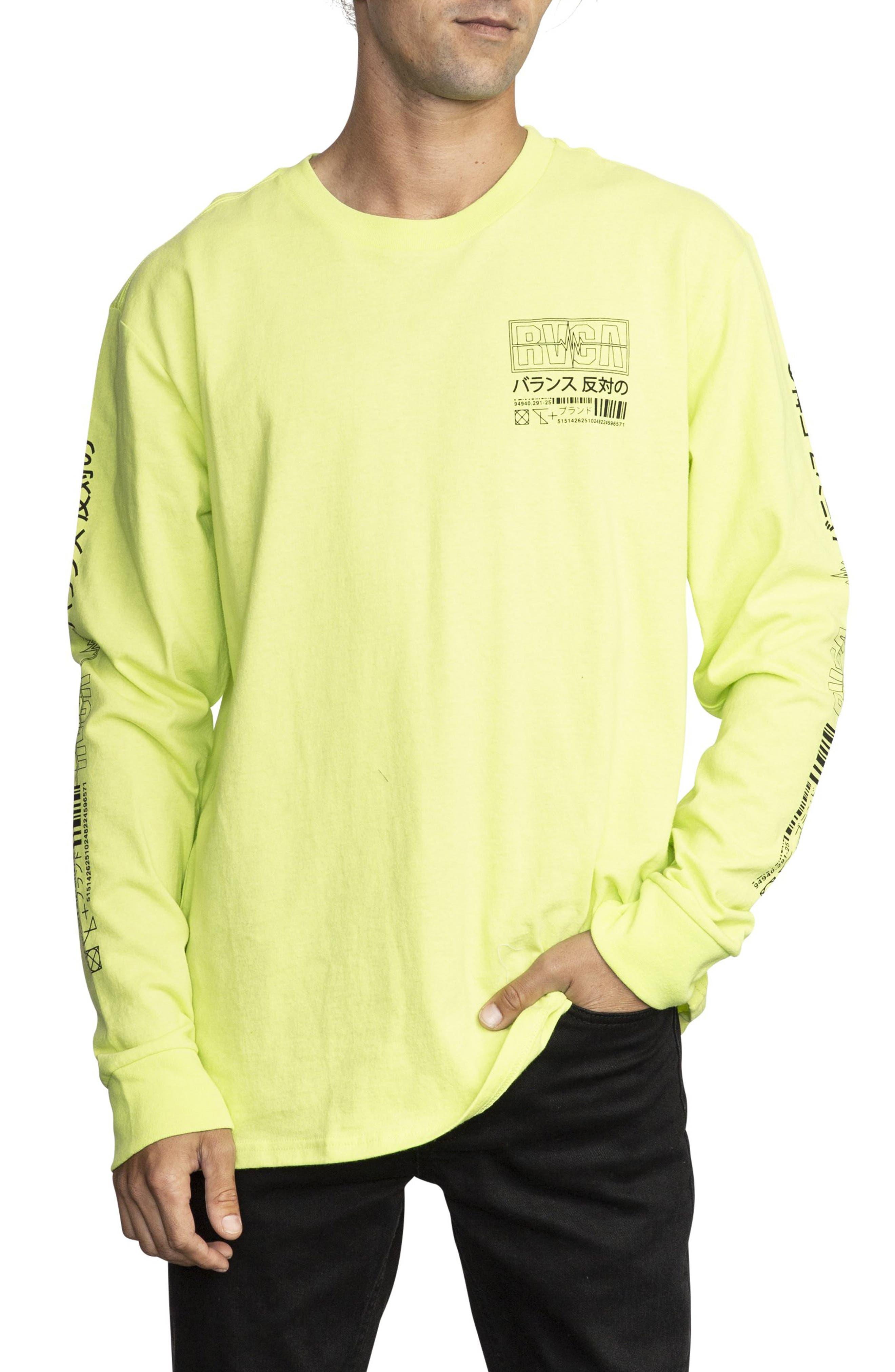 RVCA, Super Fun Long Sleeve T-Shirt, Main thumbnail 1, color, ACID YELLOW