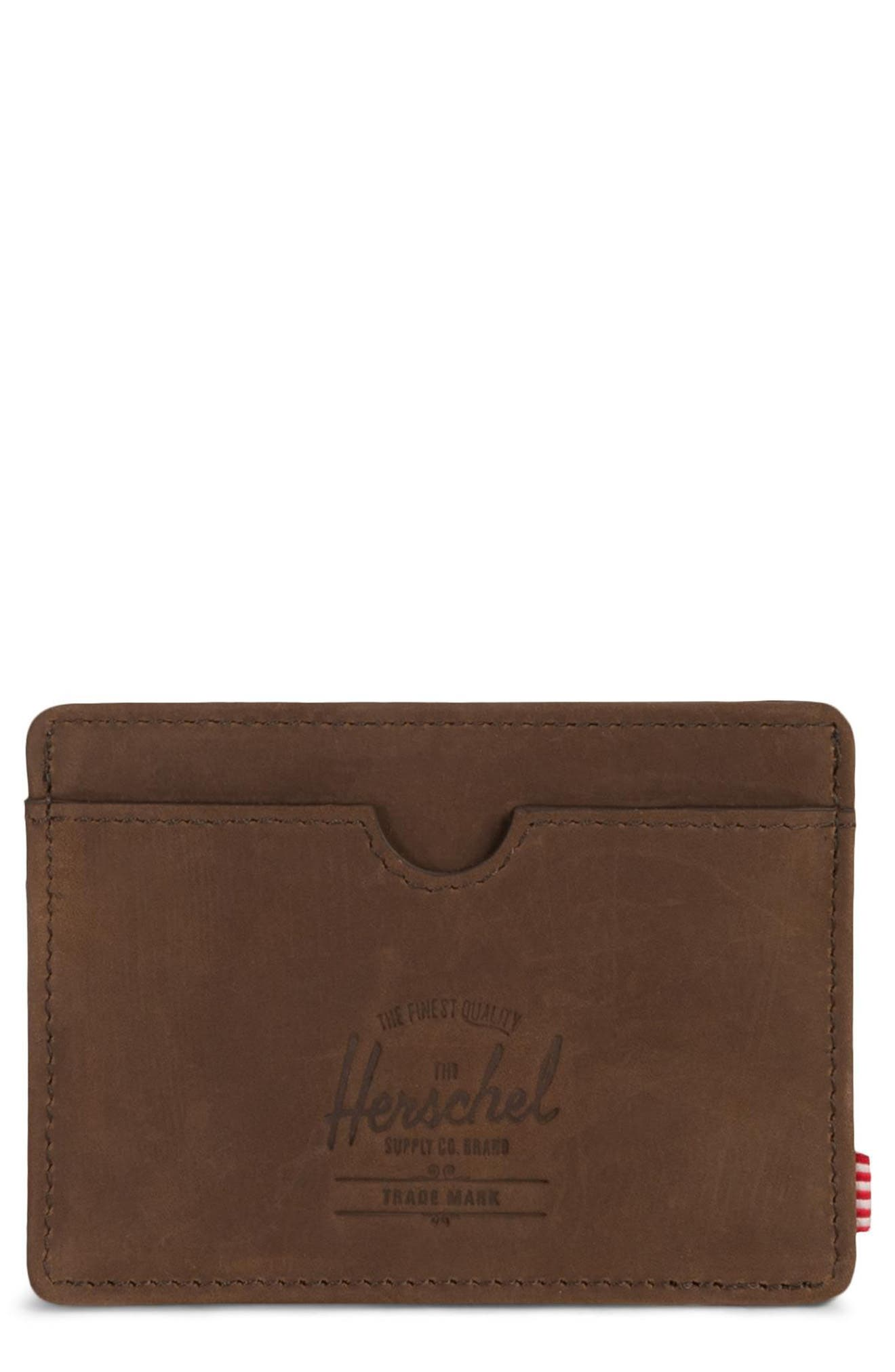 HERSCHEL SUPPLY CO., Charlie Nubuck Leather Card Case, Main thumbnail 1, color, NUBUCK BROWN