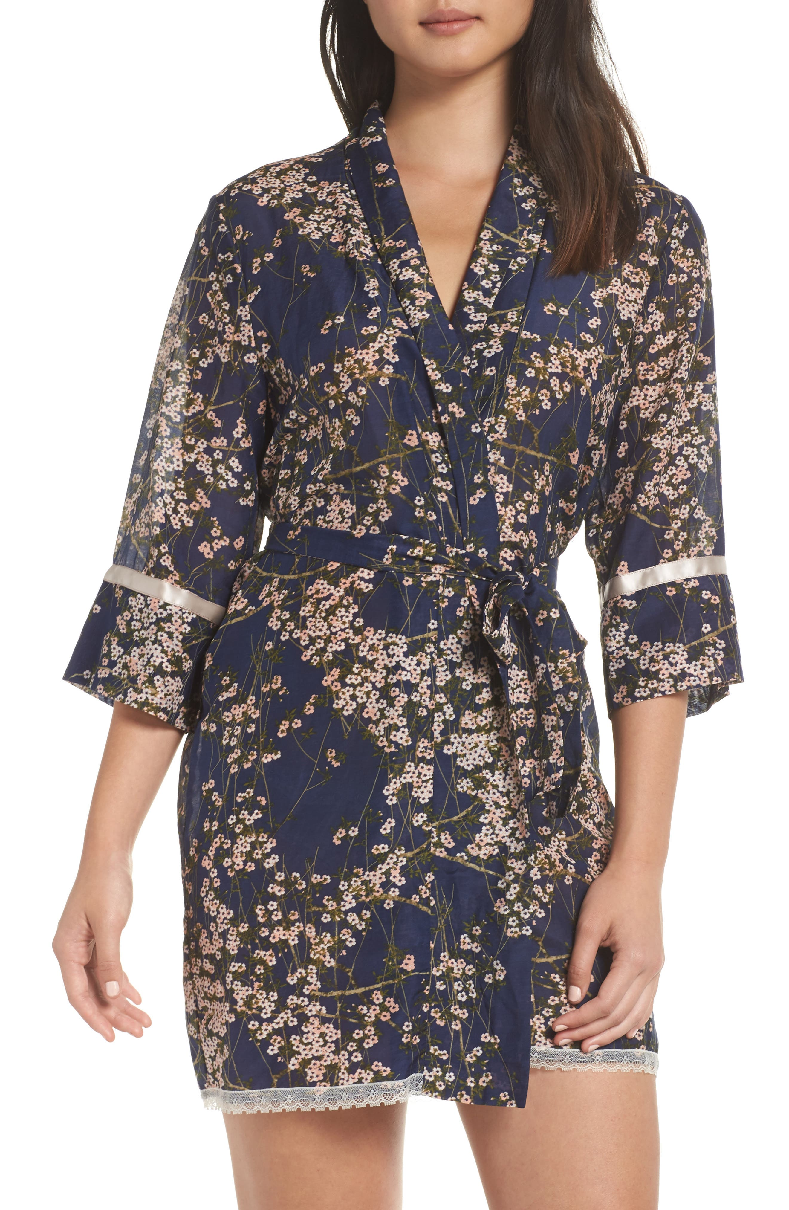 PAPINELLE Cherry Blossom Short Robe, Main, color, NAVY