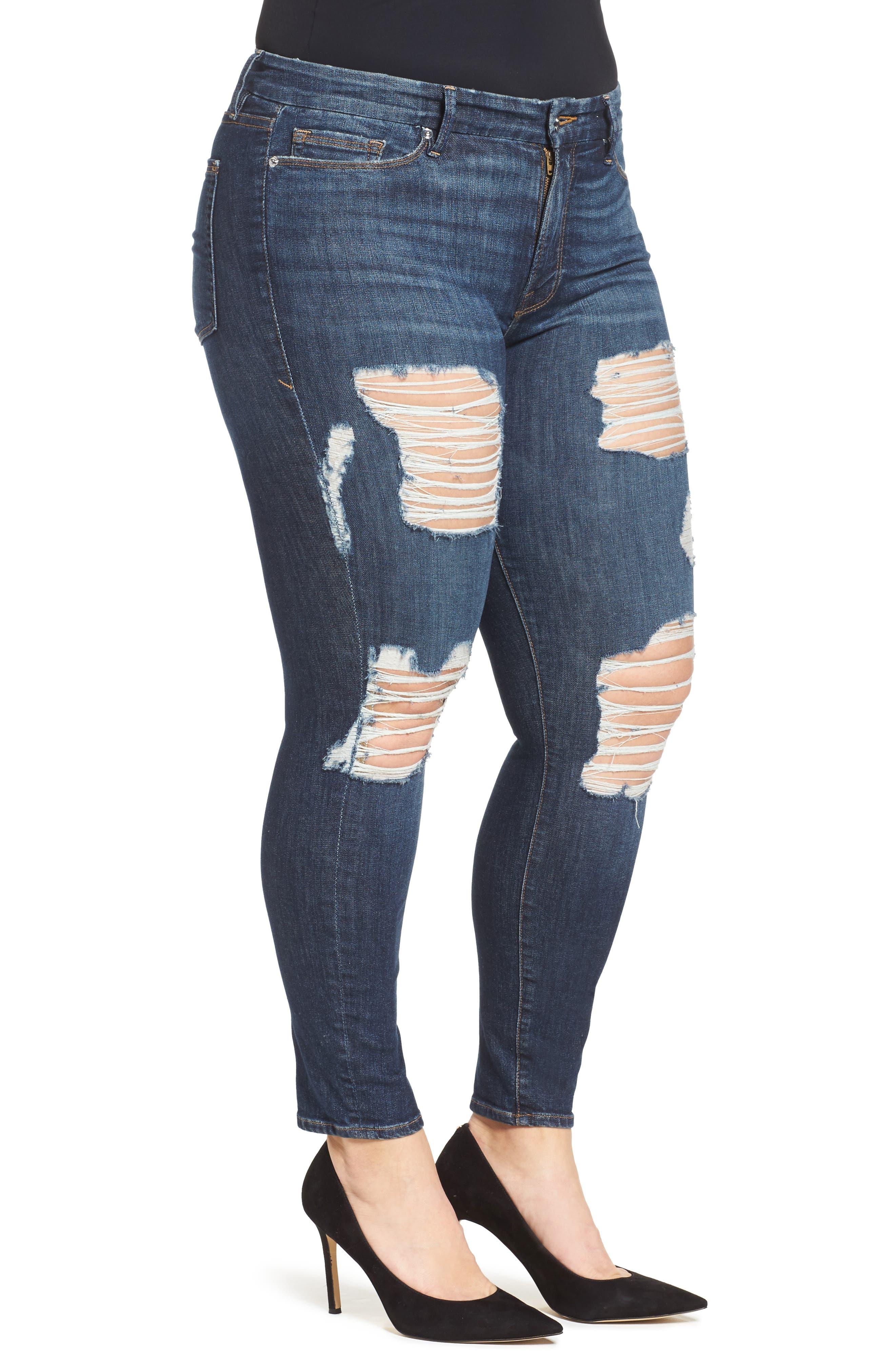 GOOD AMERICAN, Good Legs High Rise Crop Skinny Jeans, Alternate thumbnail 3, color, 401