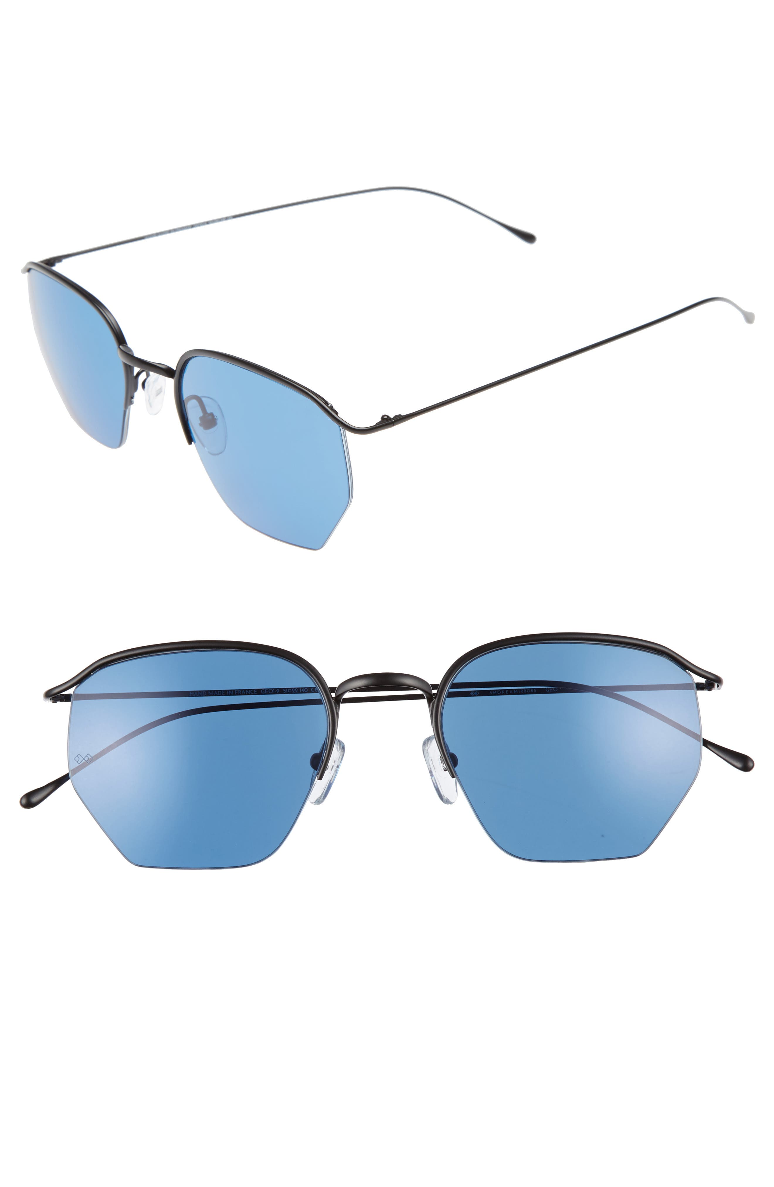 SMOKE X MIRRORS, Geo 1 50mm Aviator Sunglasses, Main thumbnail 1, color, MATTE BLACK/ GRADIENT BLUE