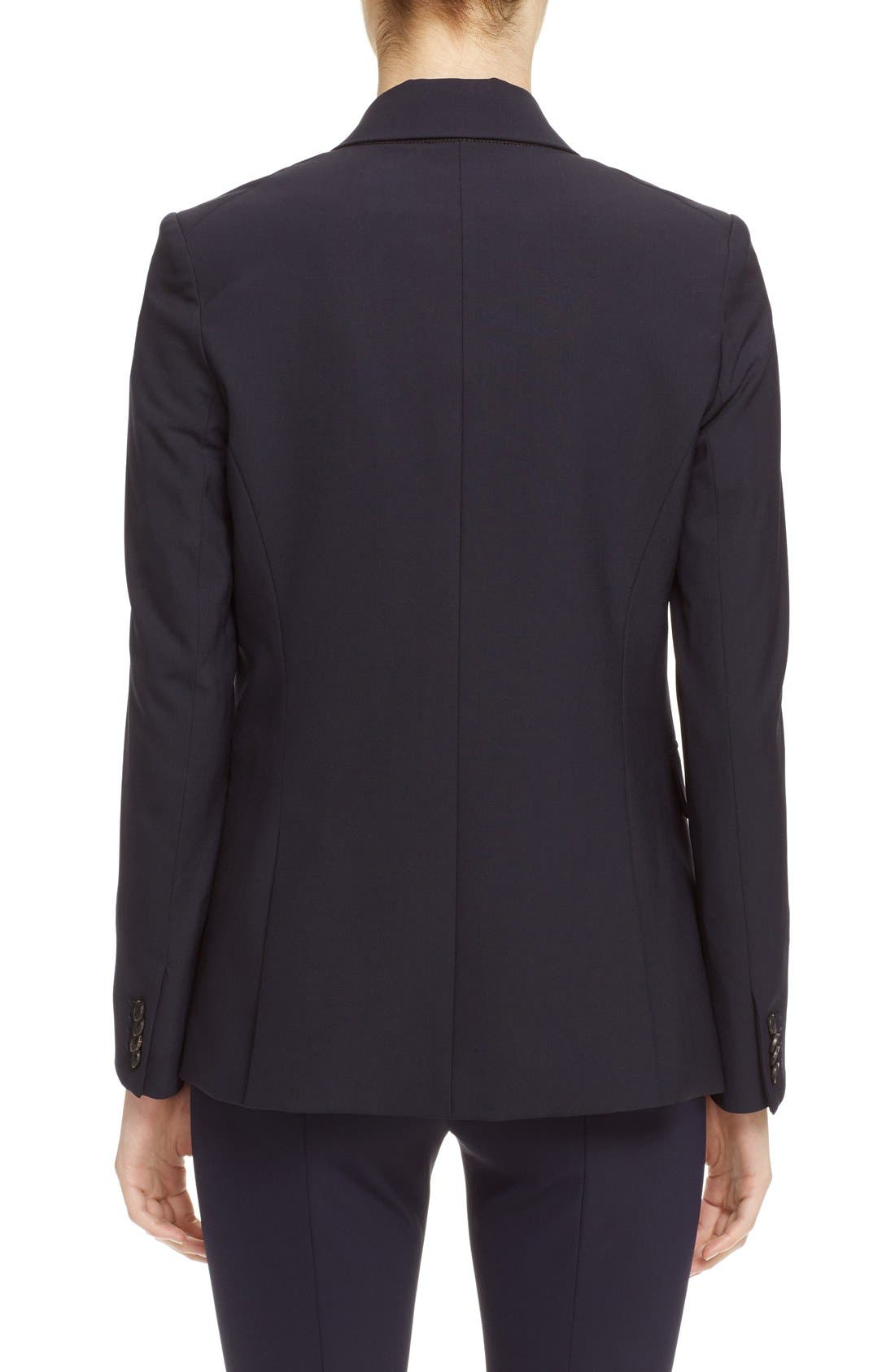 VERONICA BEARD, 'Classic' Lambswool Blend Single Button Blazer, Alternate thumbnail 2, color, NAVY