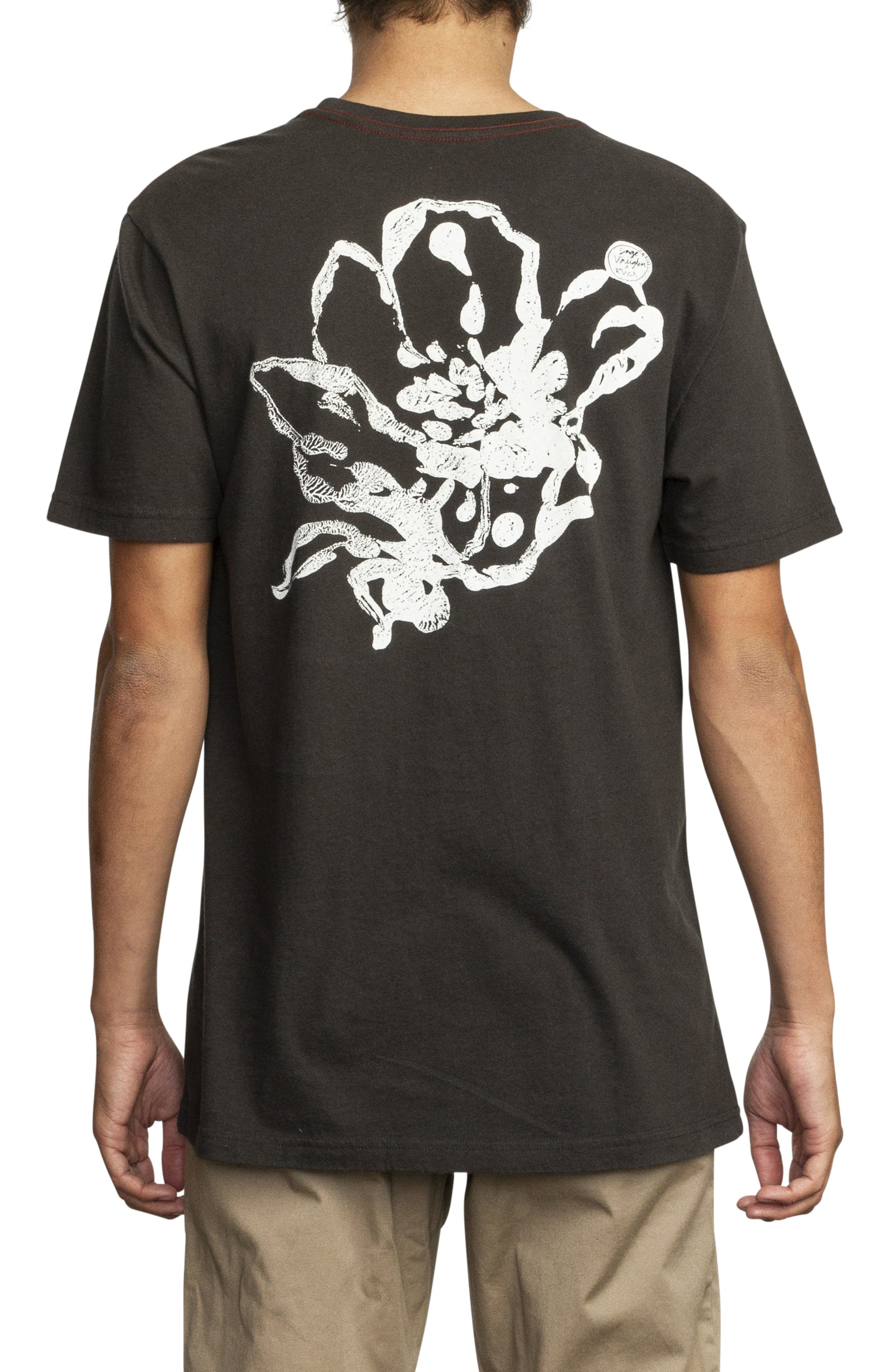 RVCA, Mono Flower Graphic T-Shirt, Alternate thumbnail 2, color, PIRATE BLACK