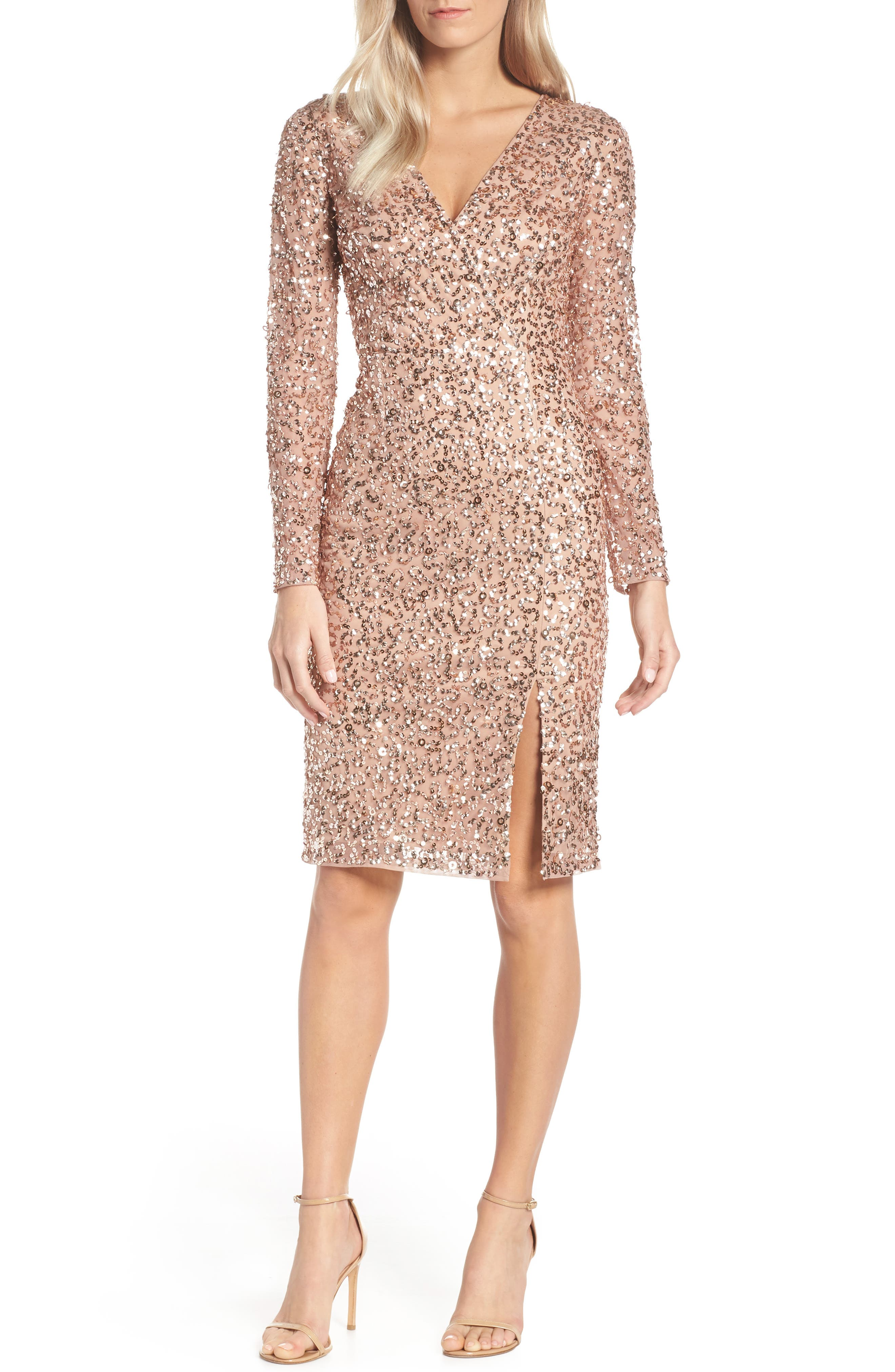 ADRIANNA PAPELL, Beaded Mesh Cocktail Dress, Main thumbnail 1, color, 680