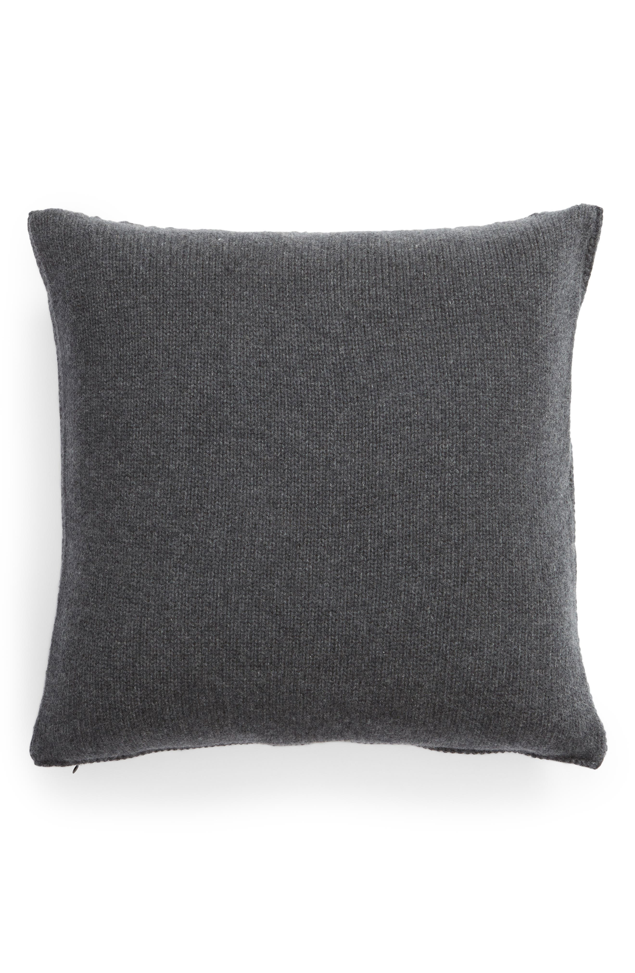 NORDSTROM SIGNATURE, Cable Knit Cashmere Accent Pillow, Alternate thumbnail 2, color, CHARCOAL HEATHER