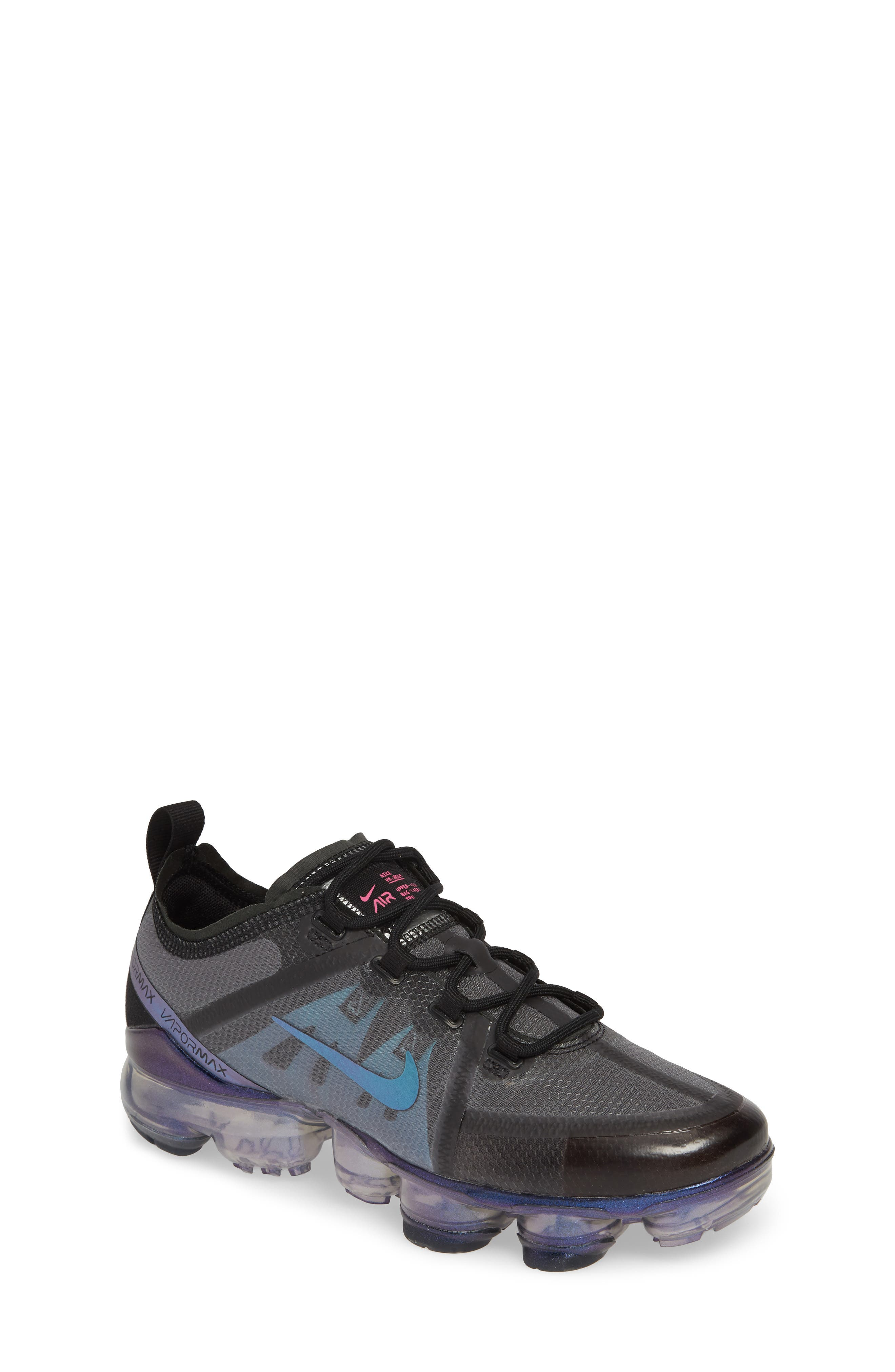 NIKE, Air VaporMax 2019 Running Shoe, Main thumbnail 1, color, BLACK/ FUCHSIA-ANTHRACITE