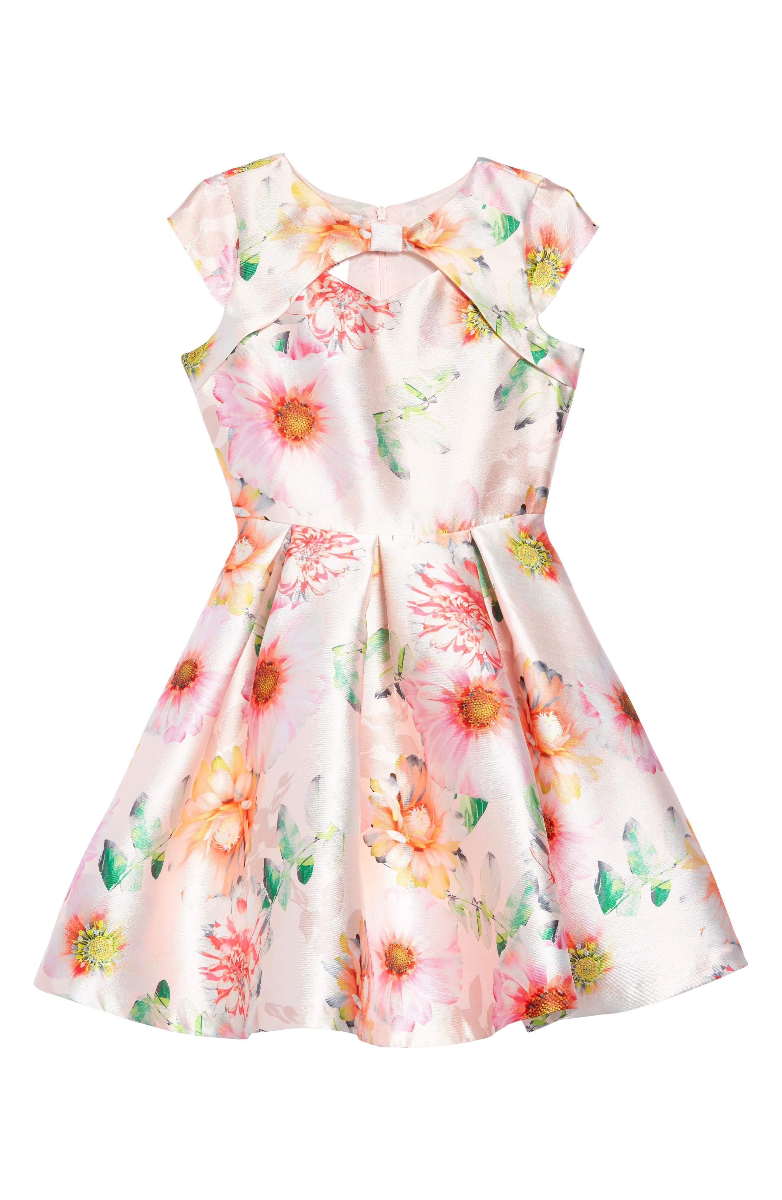 IRIS & IVY, Floral Print Satin Dress, Main thumbnail 1, color, PINK