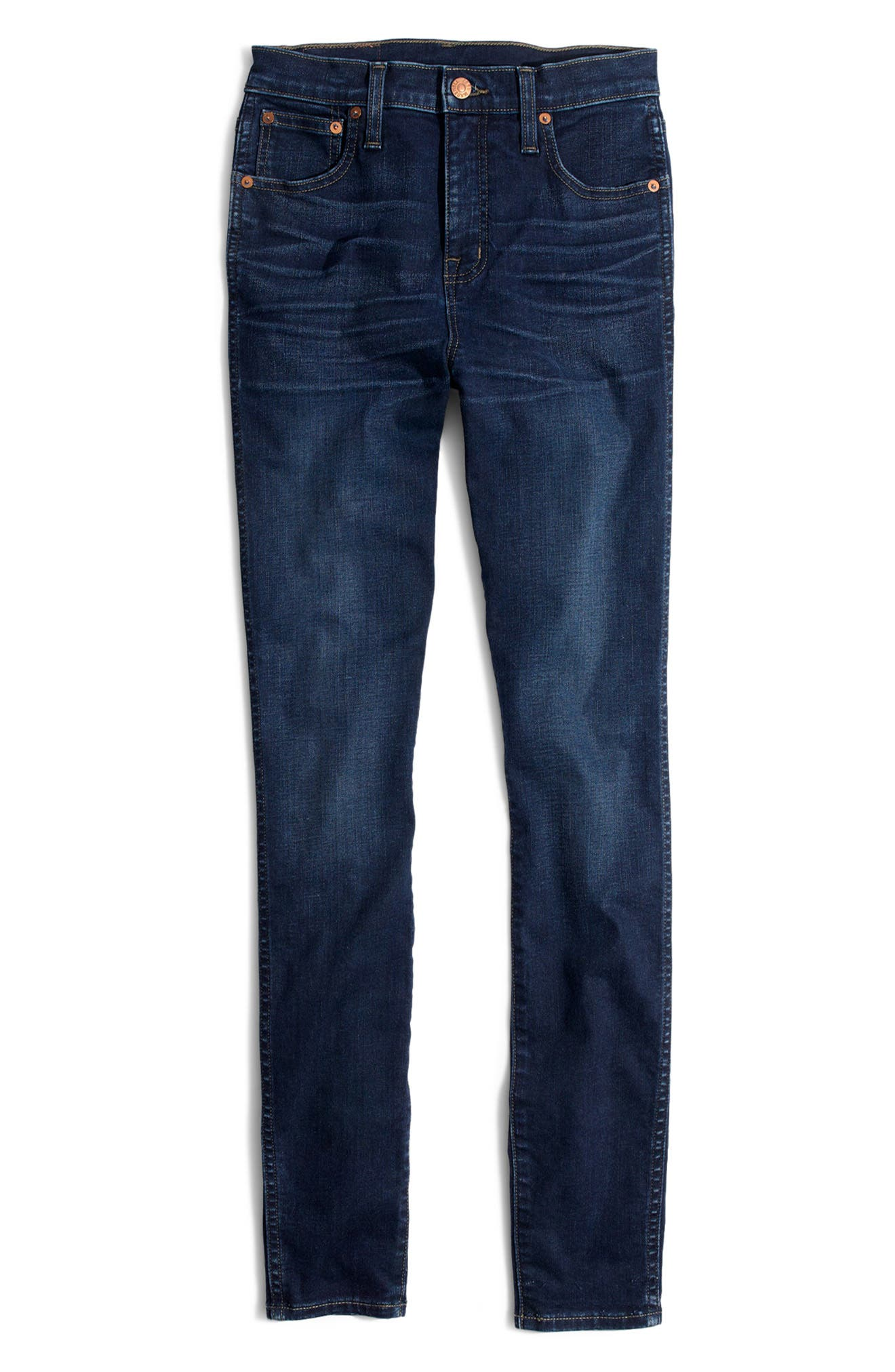 MADEWELL, 10-Inch High Rise Skinny Jeans, Alternate thumbnail 7, color, HAYES WASH