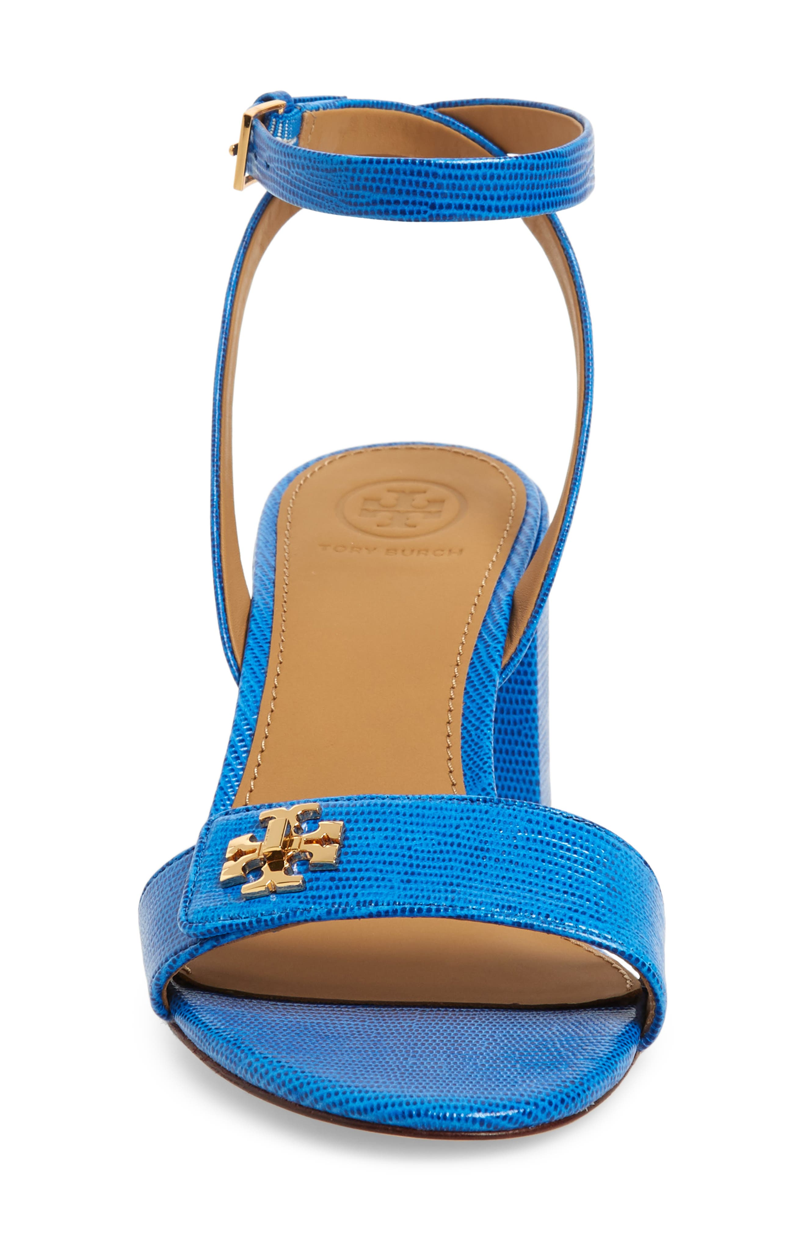 TORY BURCH, Kira Block Heel Sandal, Alternate thumbnail 4, color, BRIGHT TROPICAL BLUE