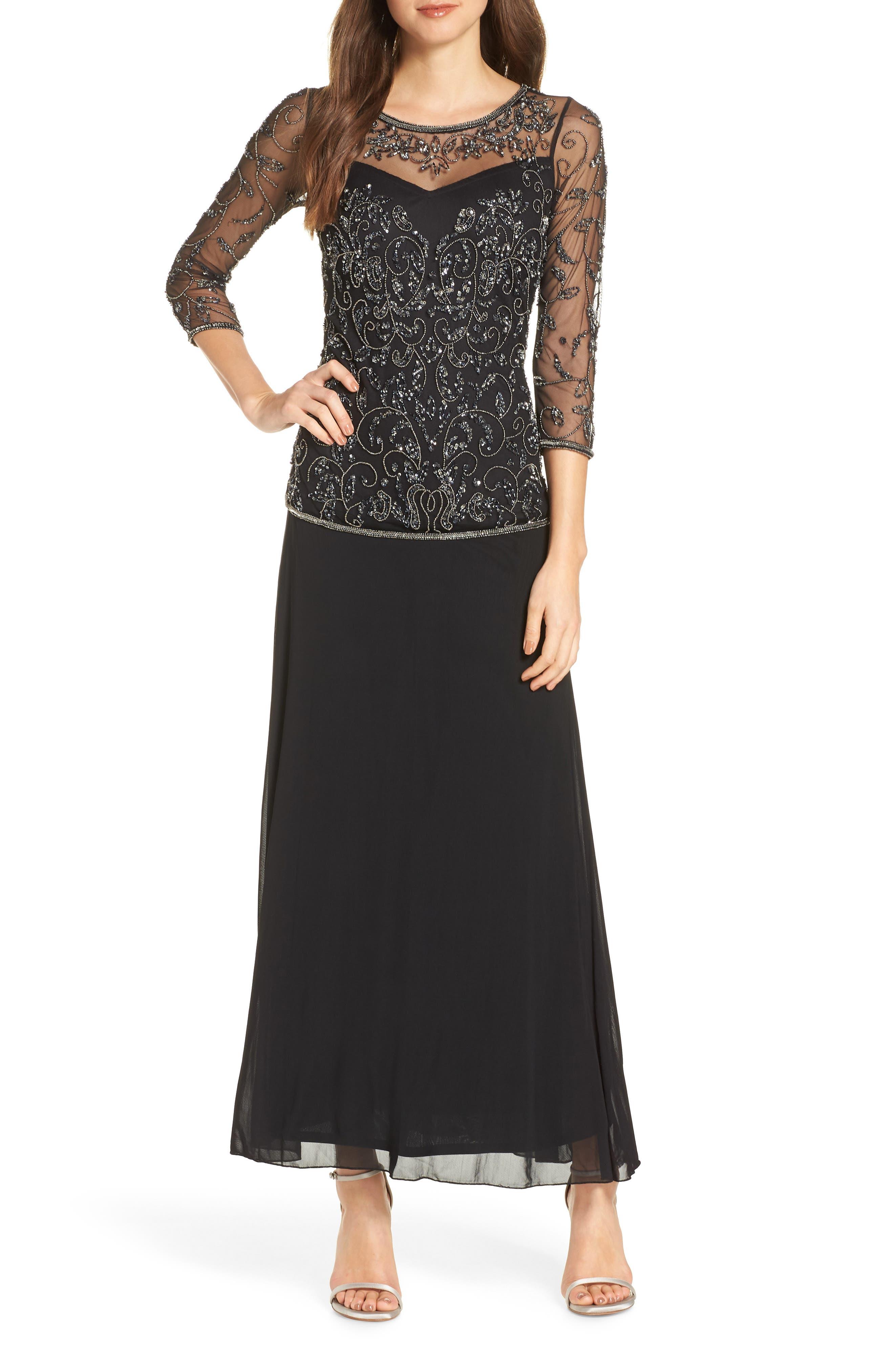 PISARRO NIGHTS Beaded Mesh Mock Two-Piece Gown, Main, color, 001