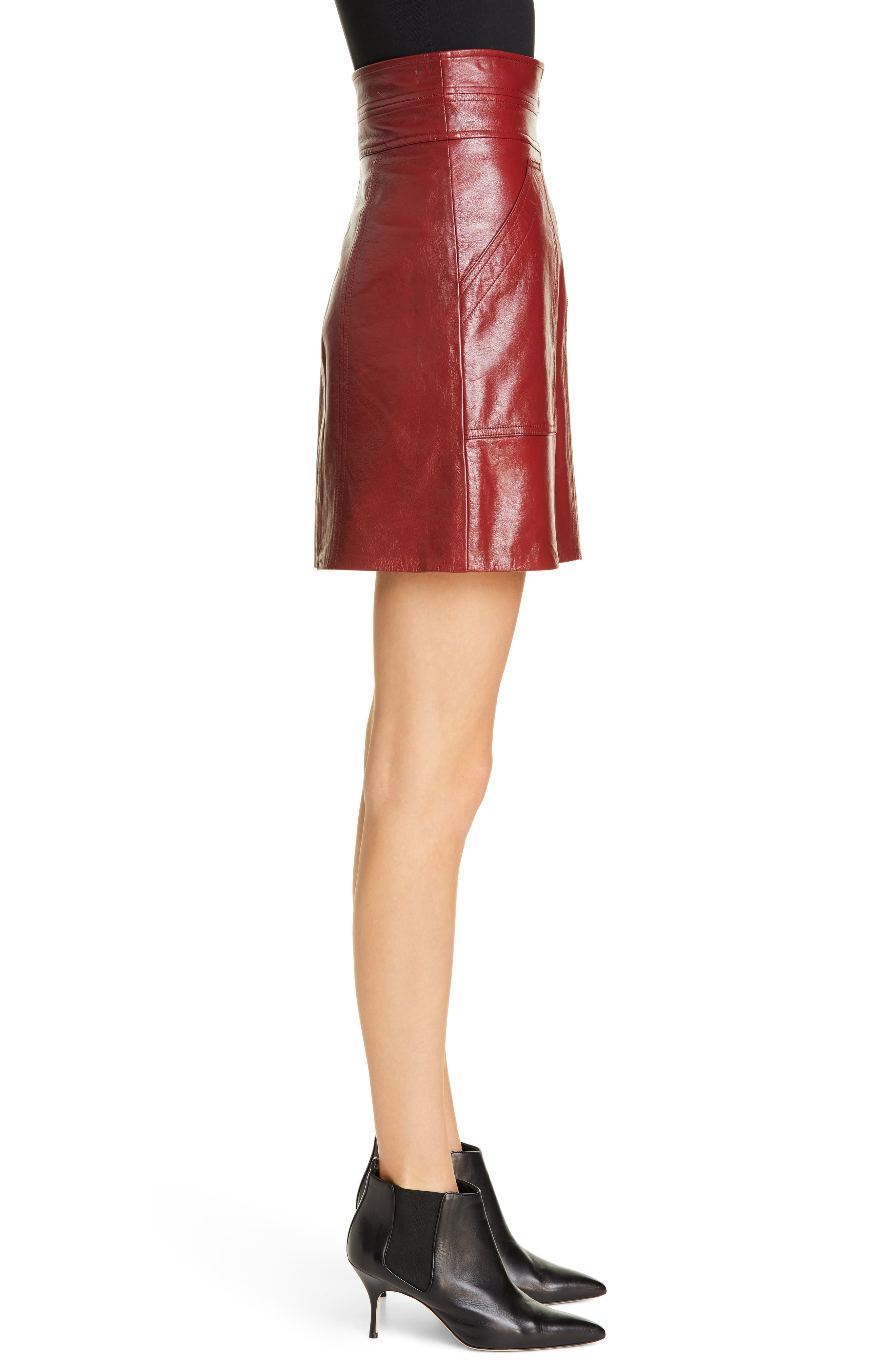 REBECCA TAYLOR, Leather Skirt, Alternate thumbnail 3, color, SPICE