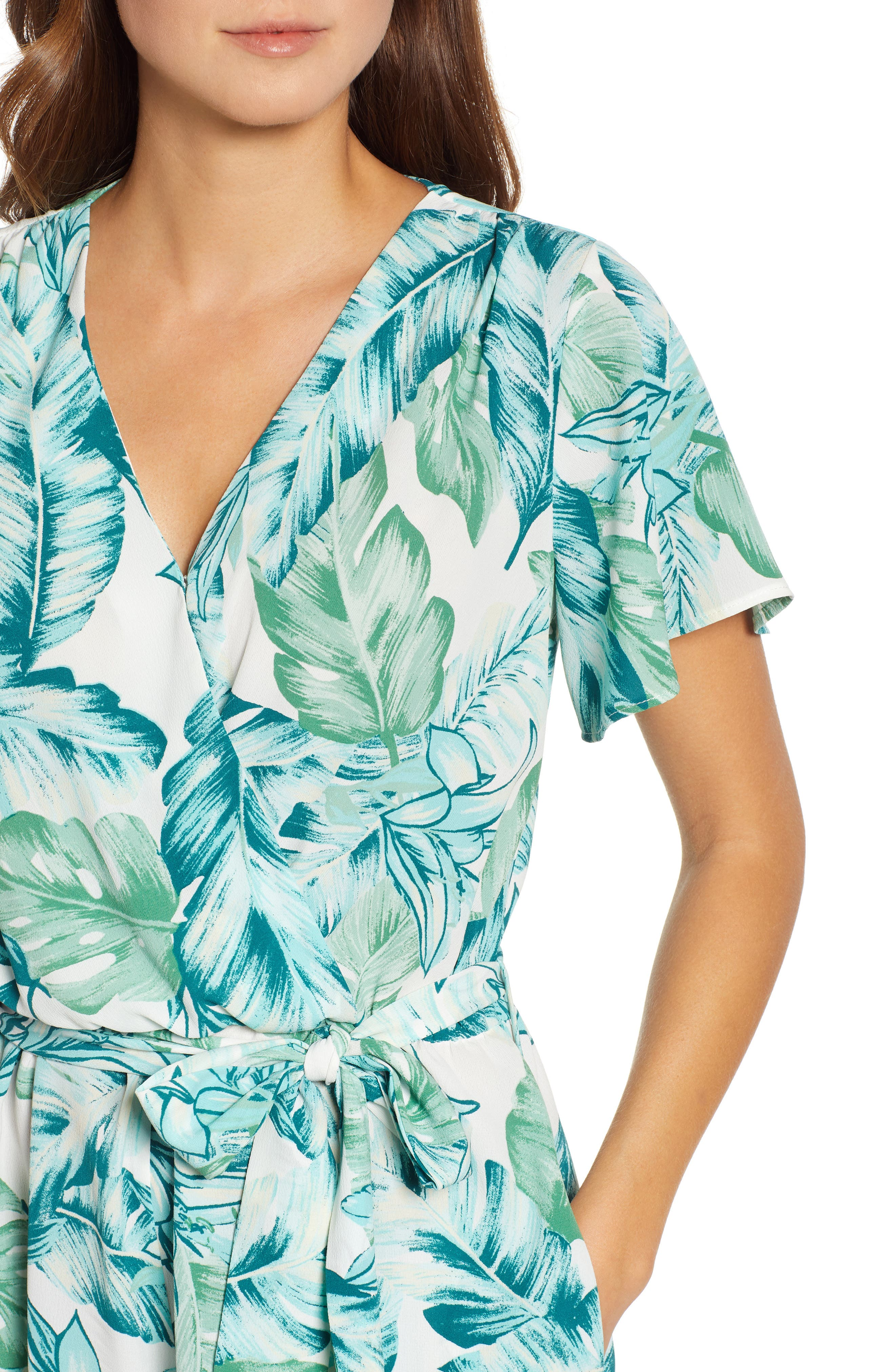 GIBSON, x Hi Sugarplum! Catalina Ruffle Hem Romper, Alternate thumbnail 5, color, PALM